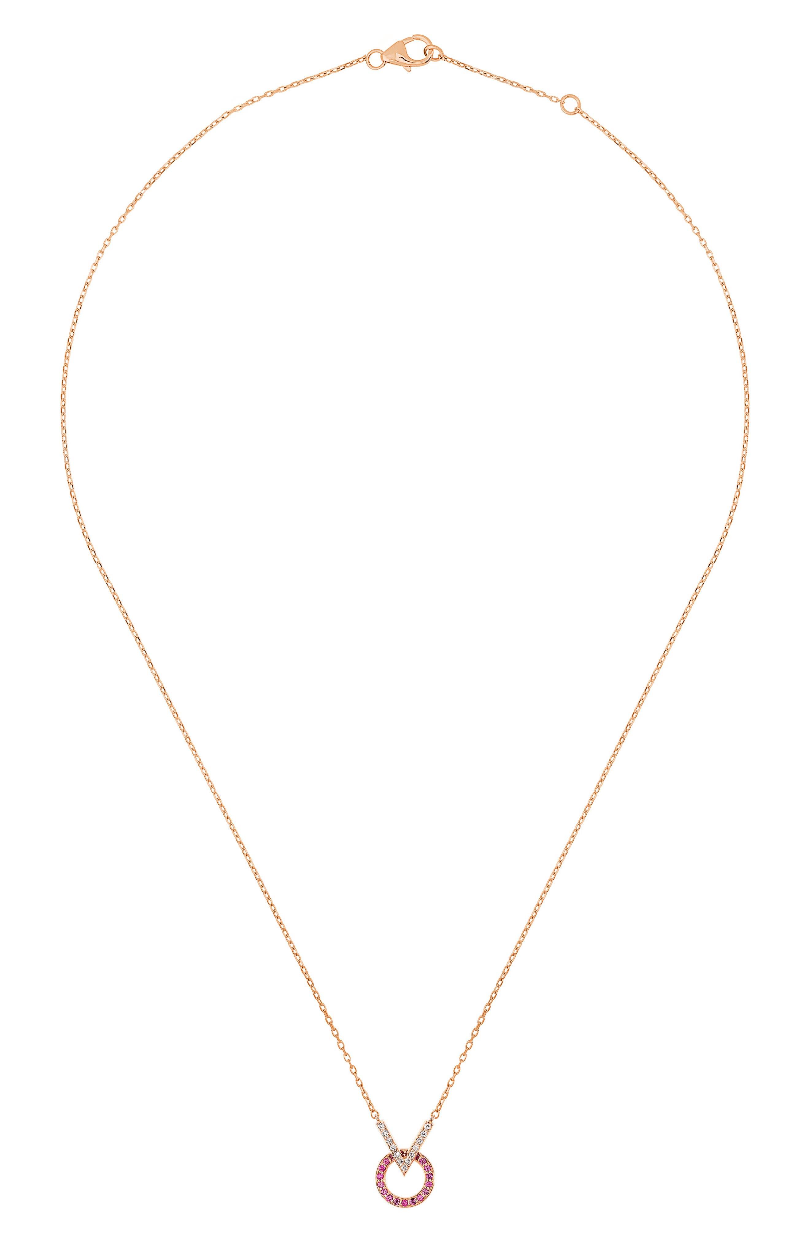 Baby Memphis V Round Diamond & Pink Sapphire Necklace,                             Alternate thumbnail 3, color,                             710
