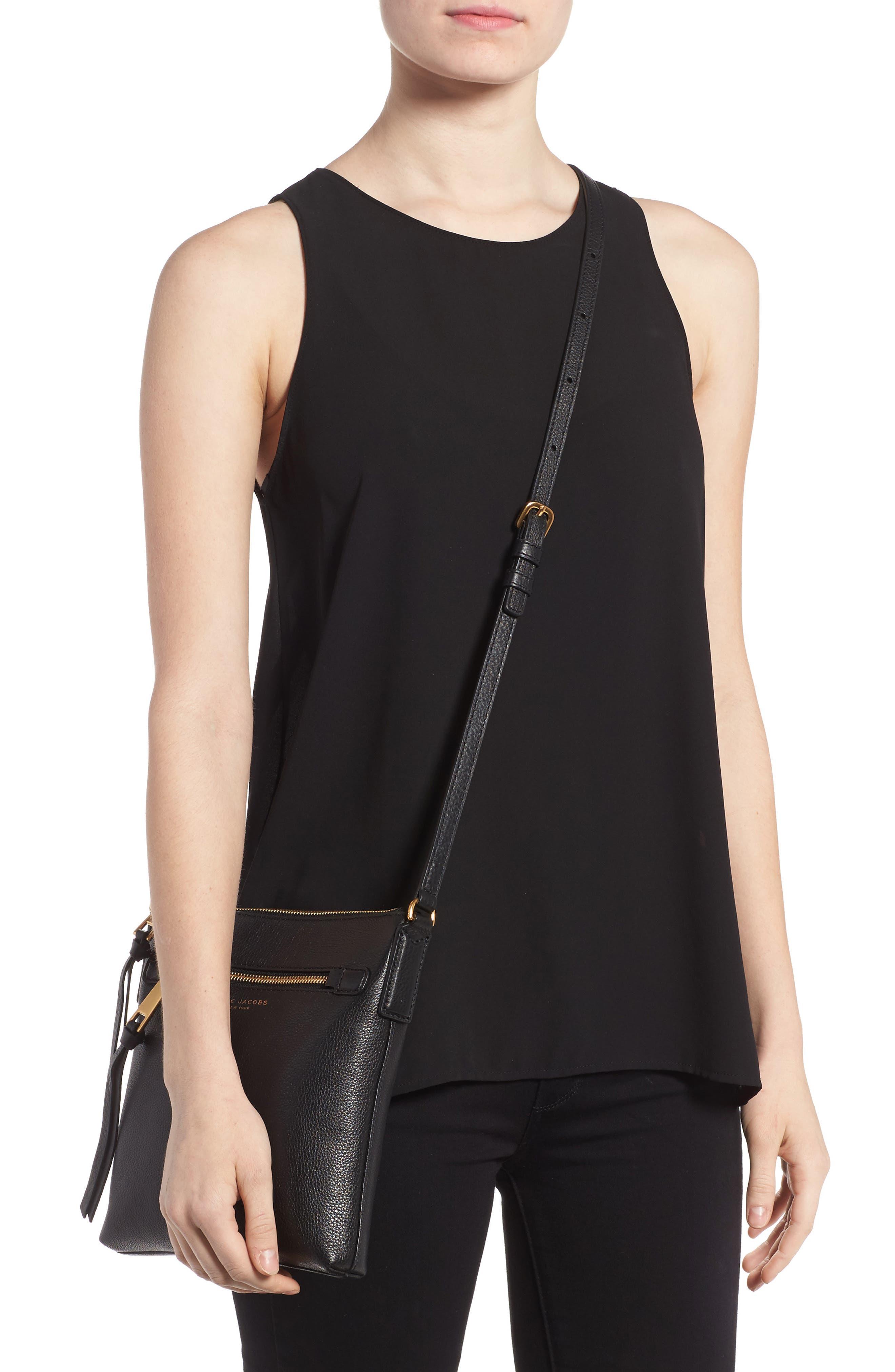 Recruit North/South Leather Crossbody Bag,                             Alternate thumbnail 2, color,                             BLACK