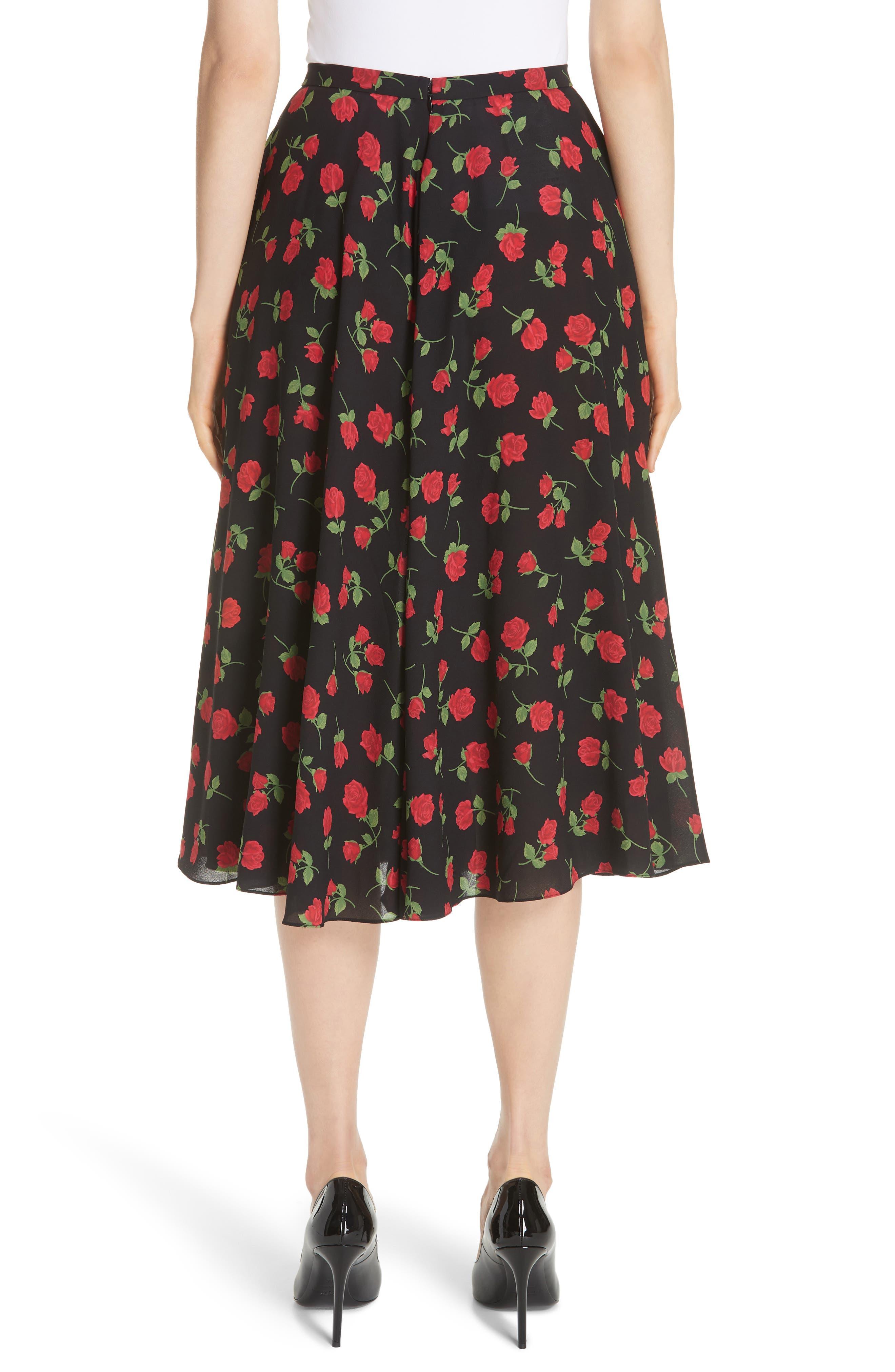 Rose Print Silk Georgette Dance Skirt,                             Alternate thumbnail 2, color,                             CRIMSON