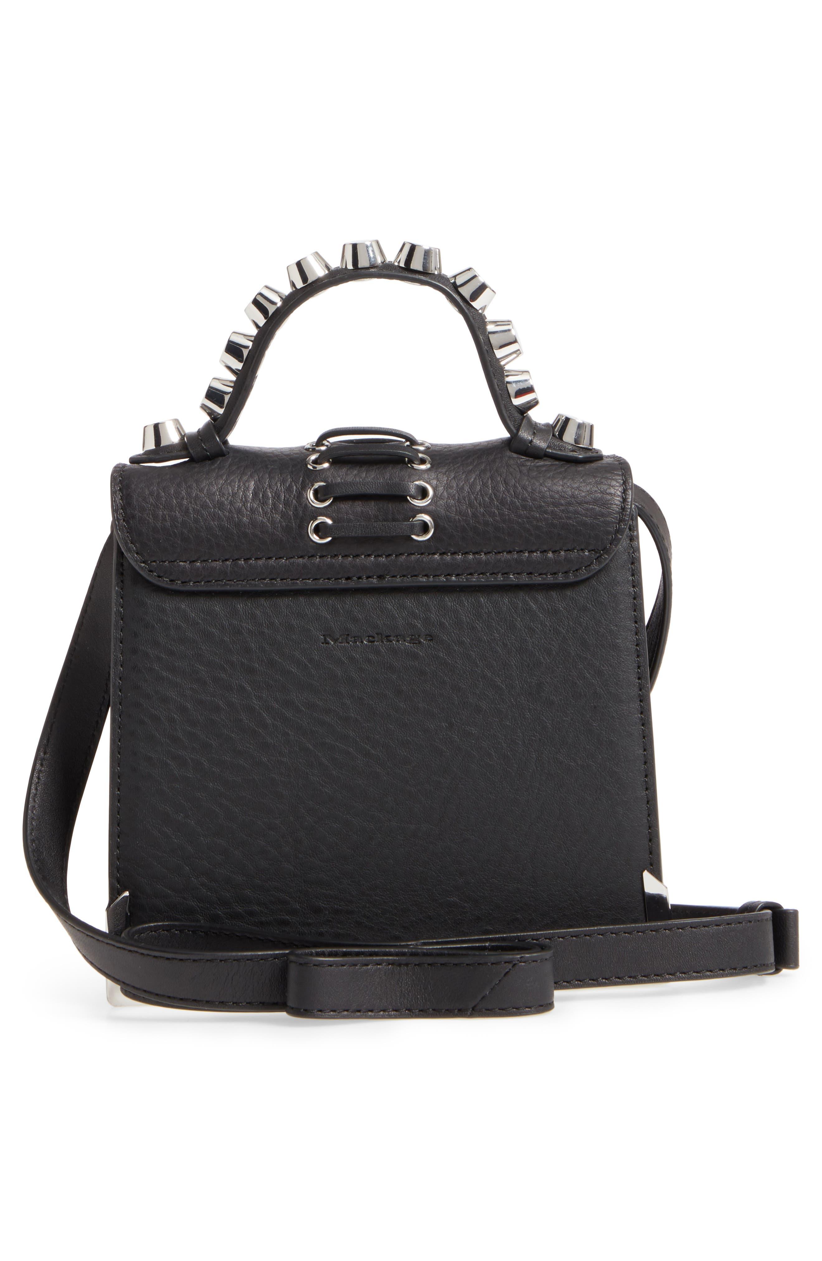 Mini Rubie Leather Crossbody Bag,                             Alternate thumbnail 3, color,                             001