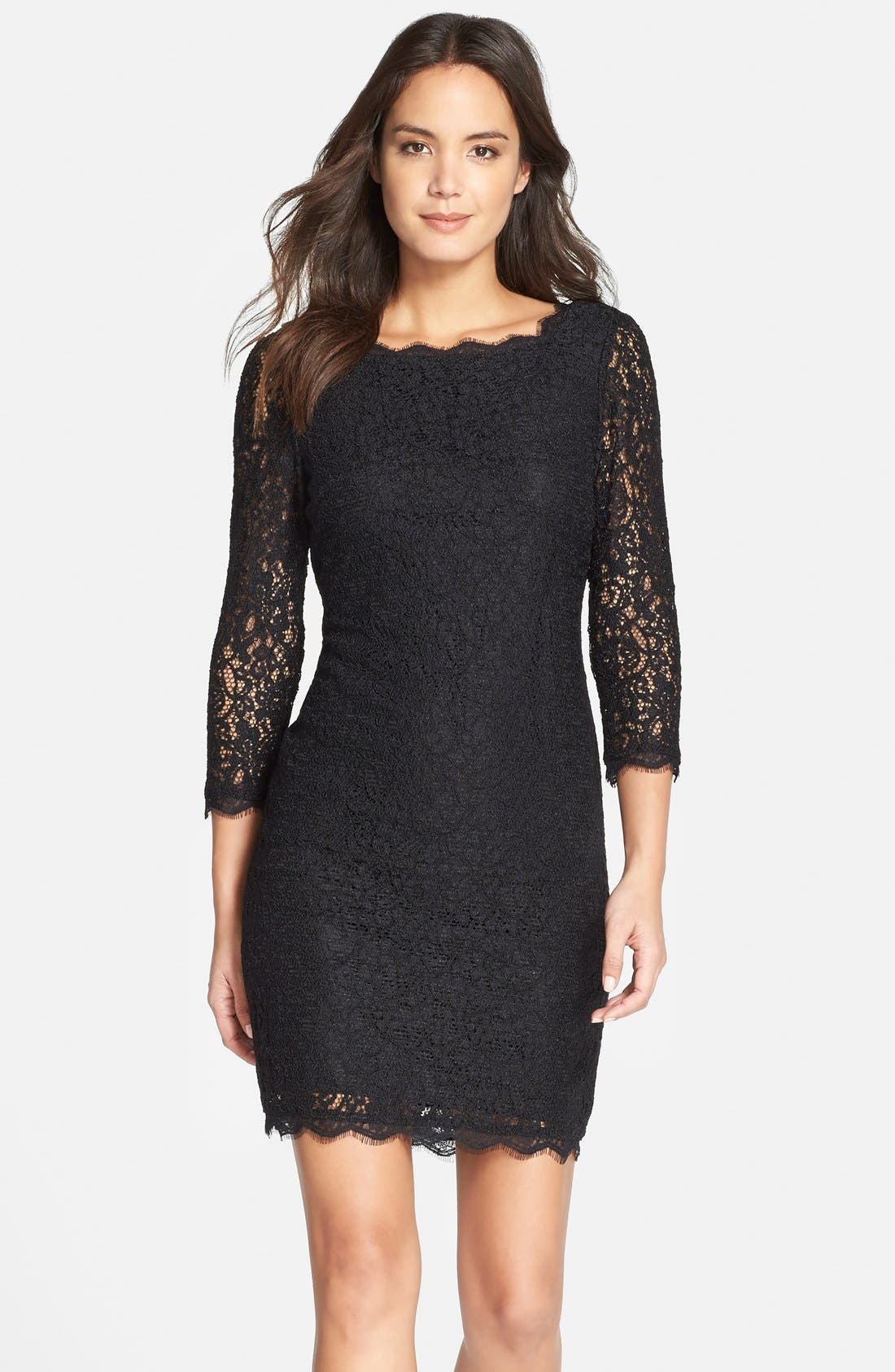 Lace Overlay Sheath Dress,                             Main thumbnail 1, color,                             001