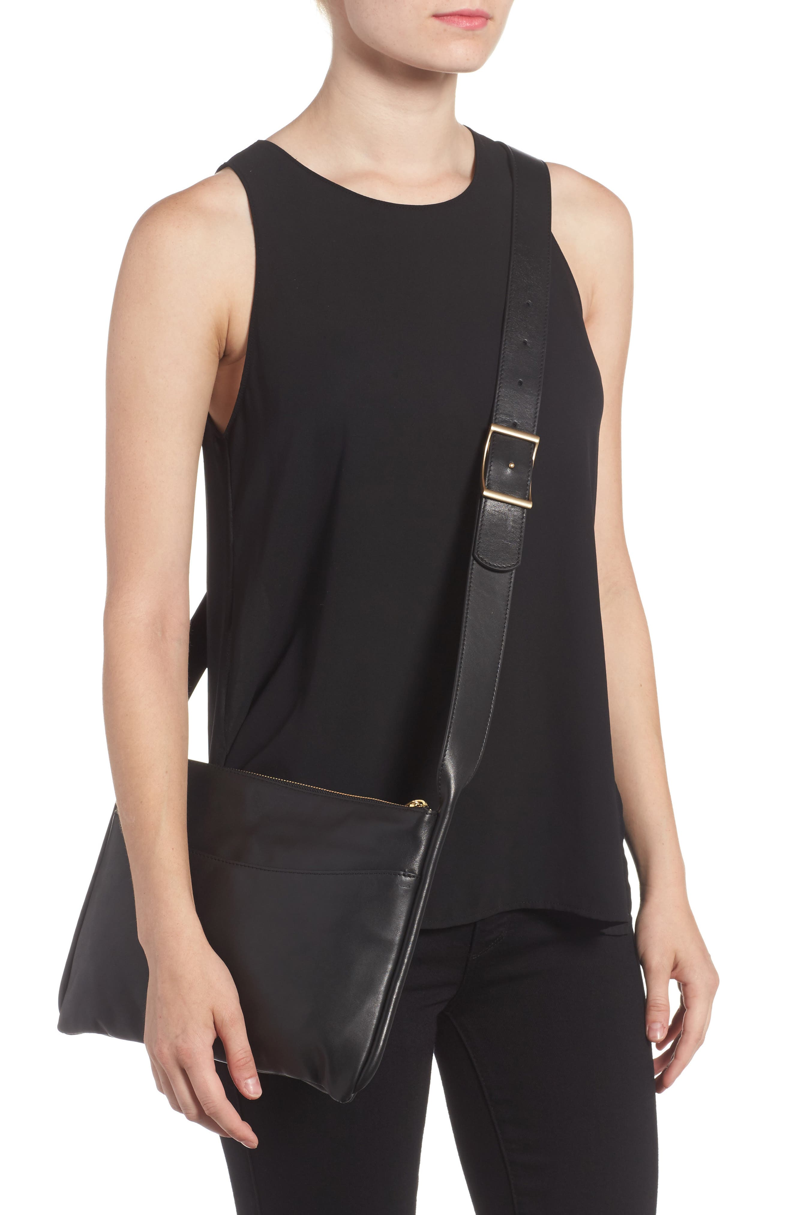 Slim Anesa Leather Crossbody Bag,                             Alternate thumbnail 2, color,                             001