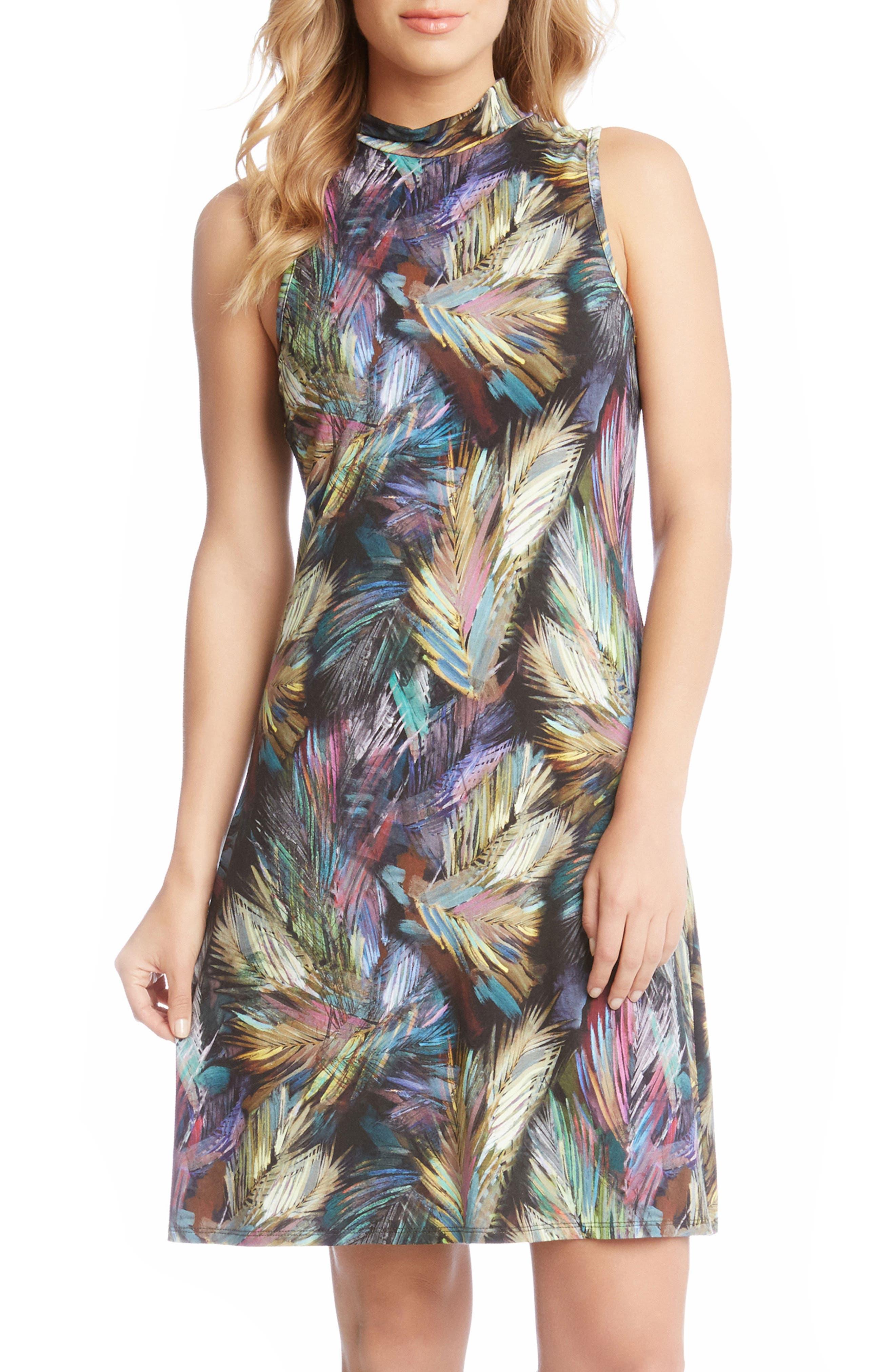 Palm Print A-Line Dress,                             Alternate thumbnail 3, color,                             560