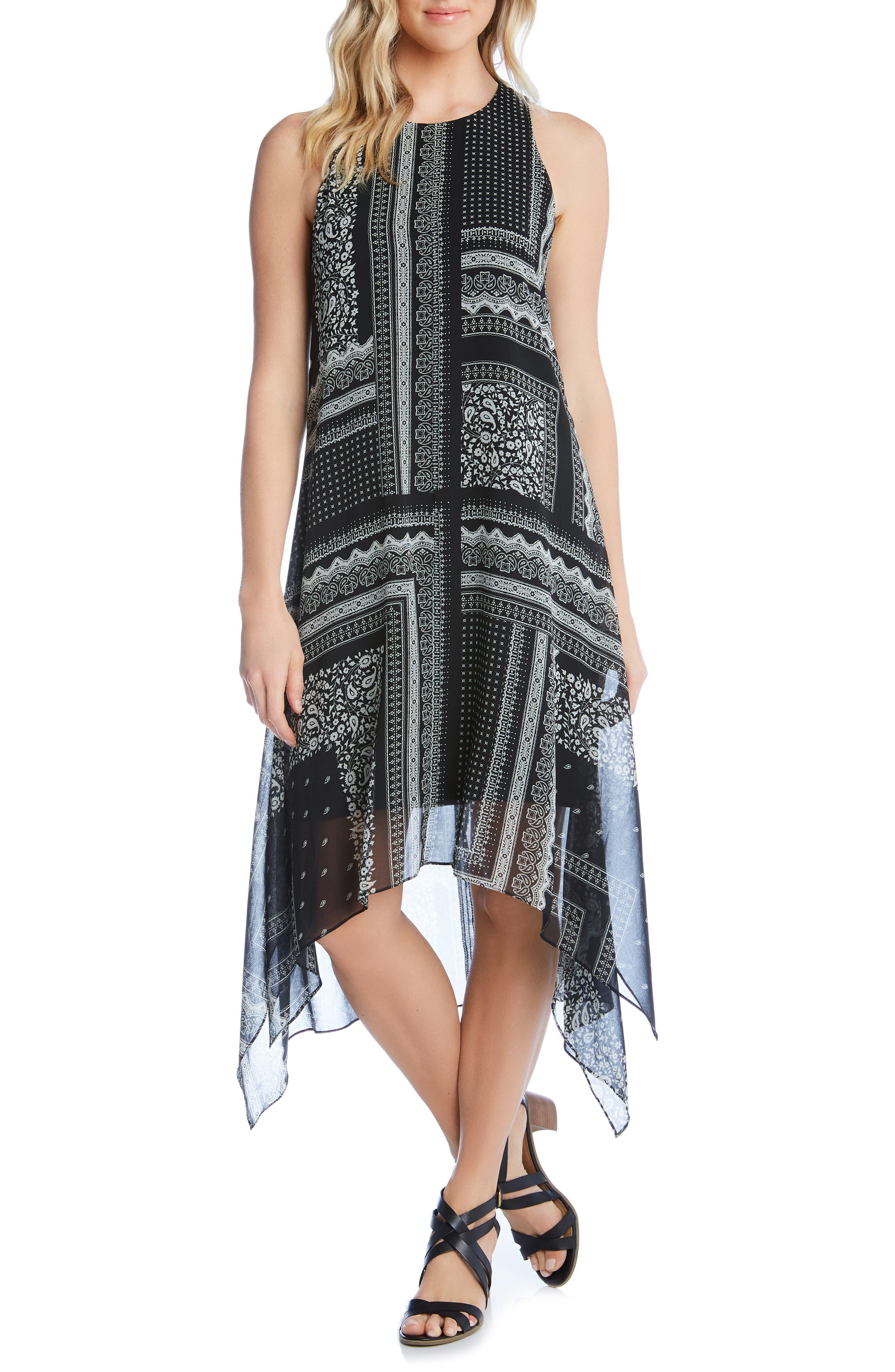 Karen Kane Printed Handkerchief Hem Dress, Black
