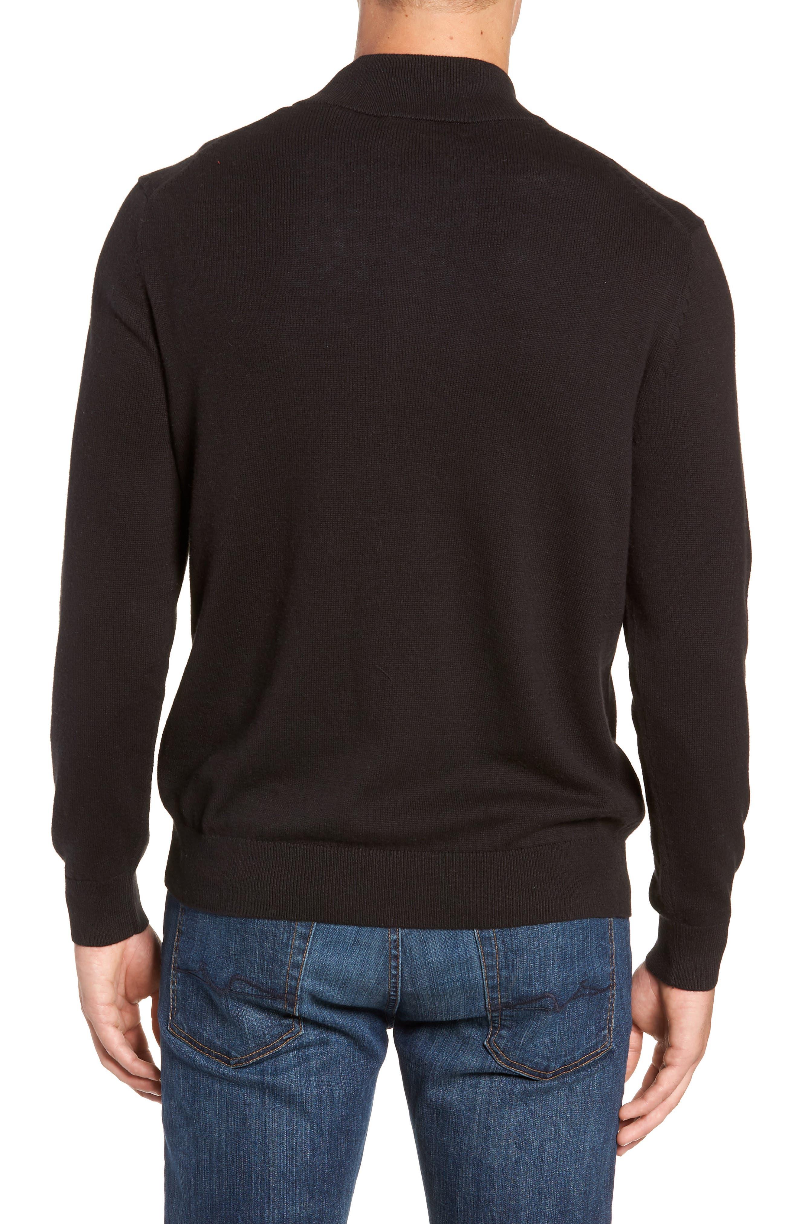 Palm Beach Quarter-Zip Sweater,                             Alternate thumbnail 2, color,                             JET BLACK