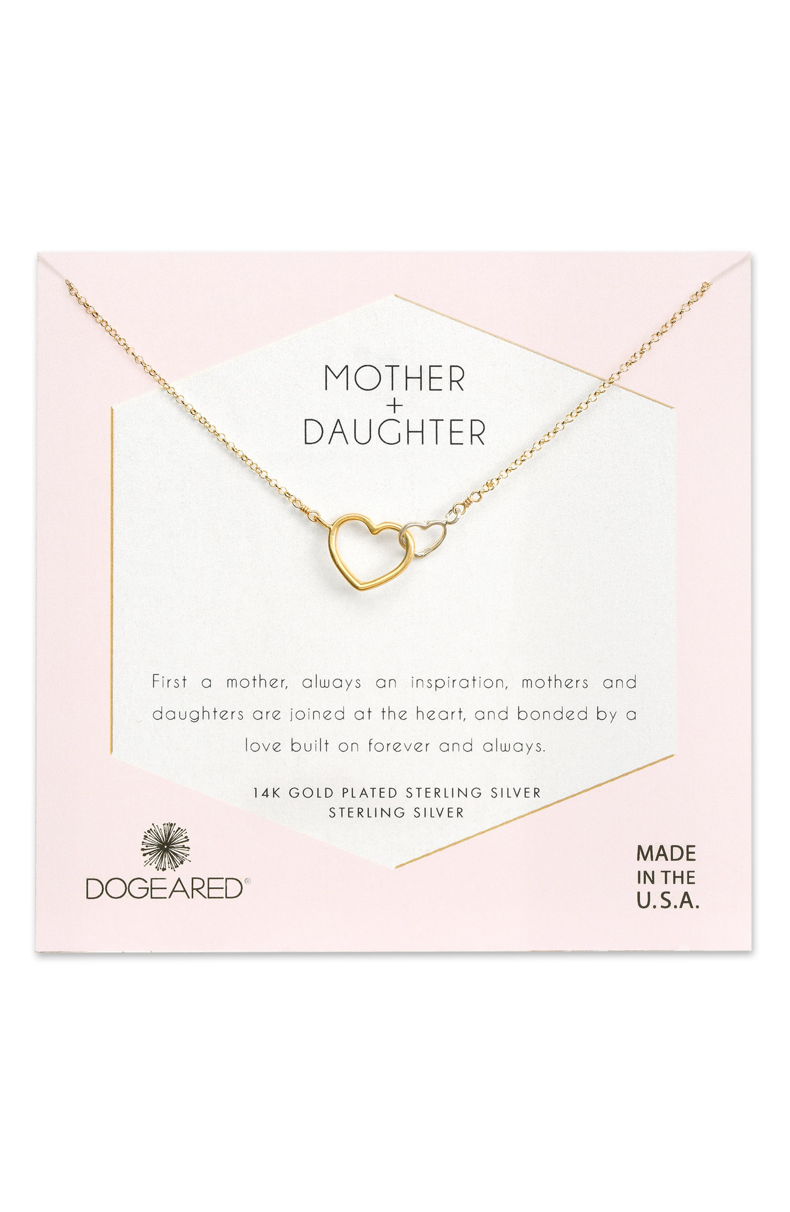 Mother + Daughter Linked Hearts Necklace,                             Main thumbnail 1, color,                             710