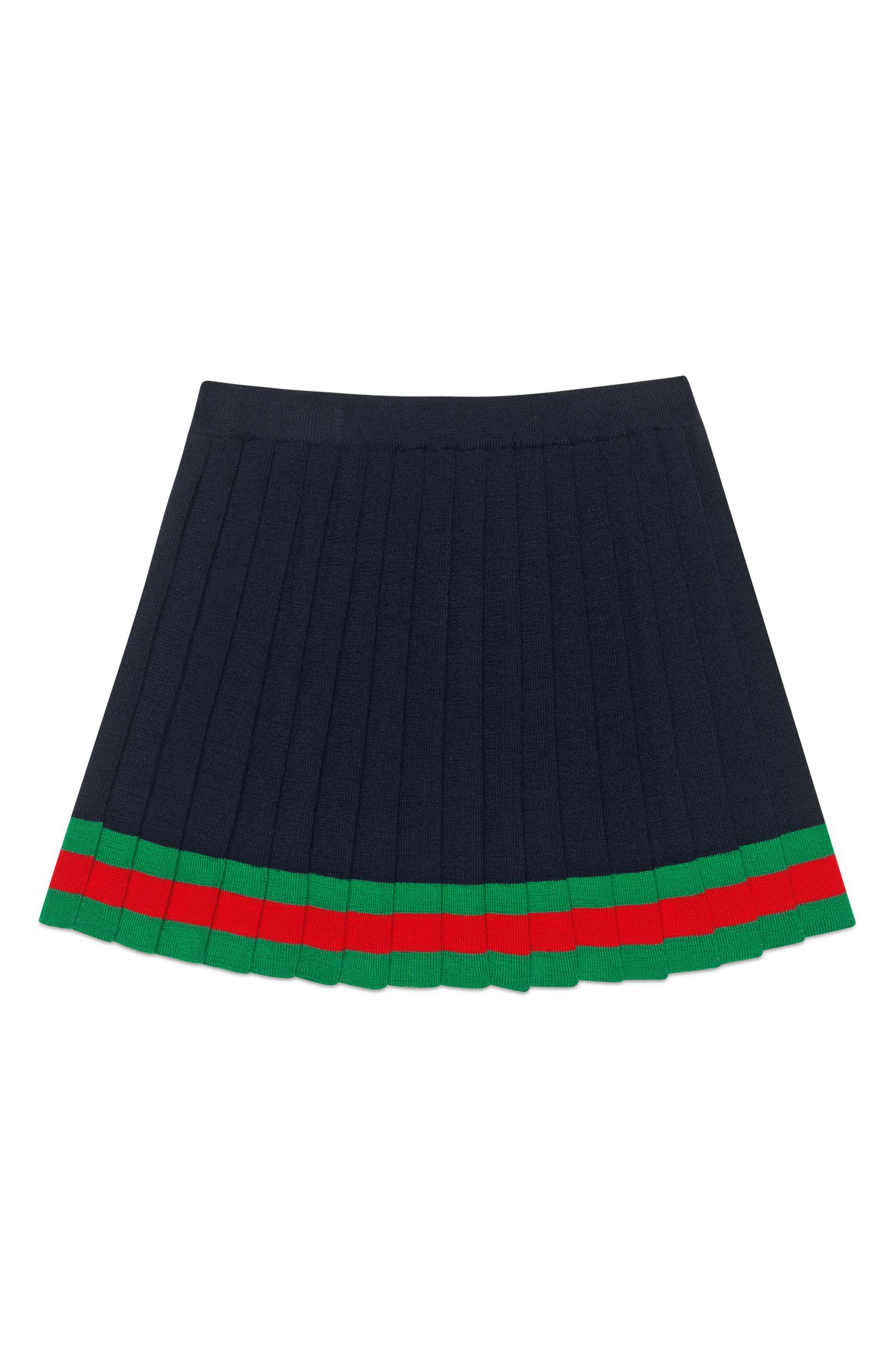 Pleated Wool Knit Skirt,                         Main,                         color, NAVY/ SHAMROCK/ L.RED