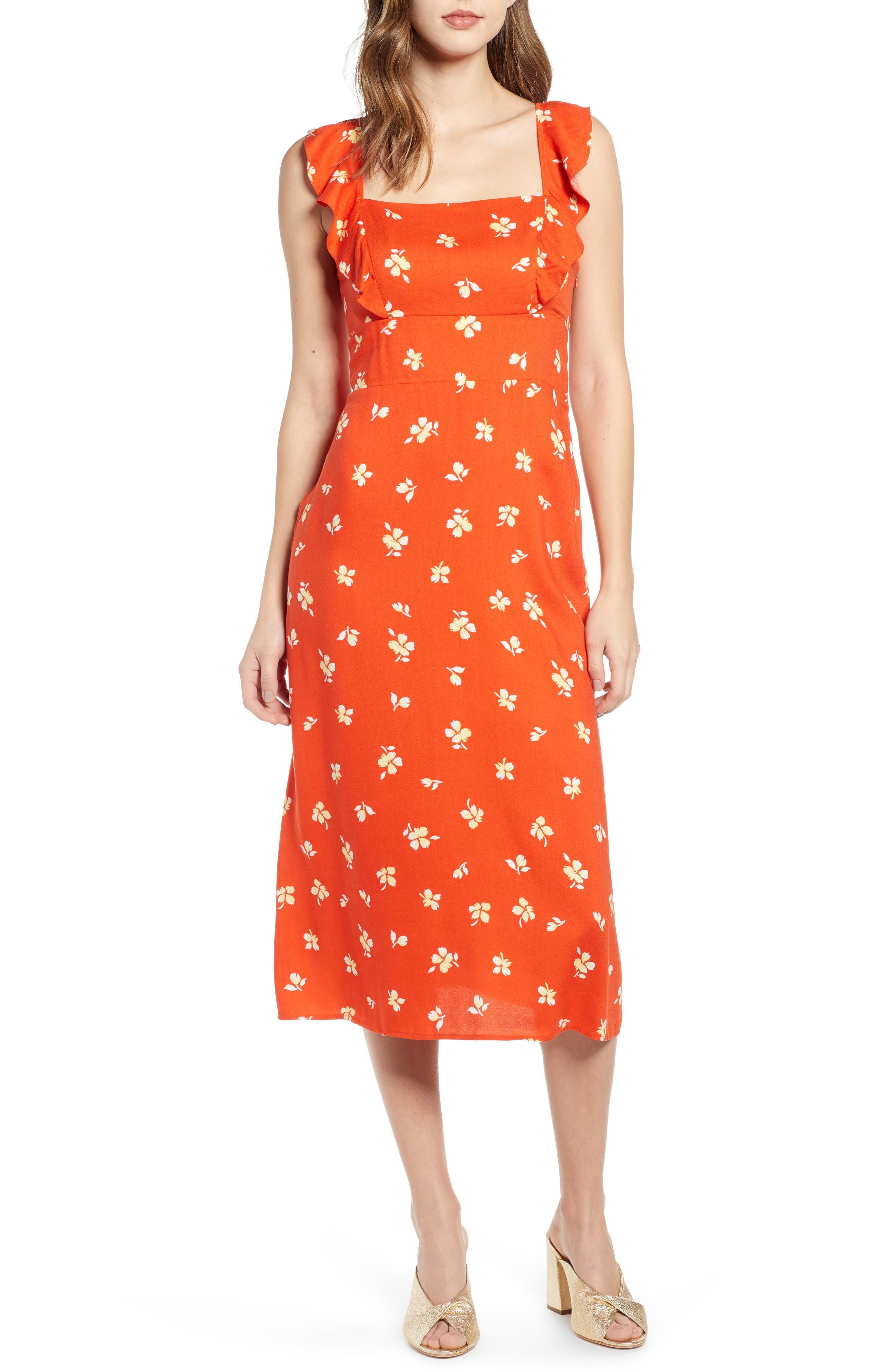 Leith Ruffle Front Square Neck Midi Dress, Orange