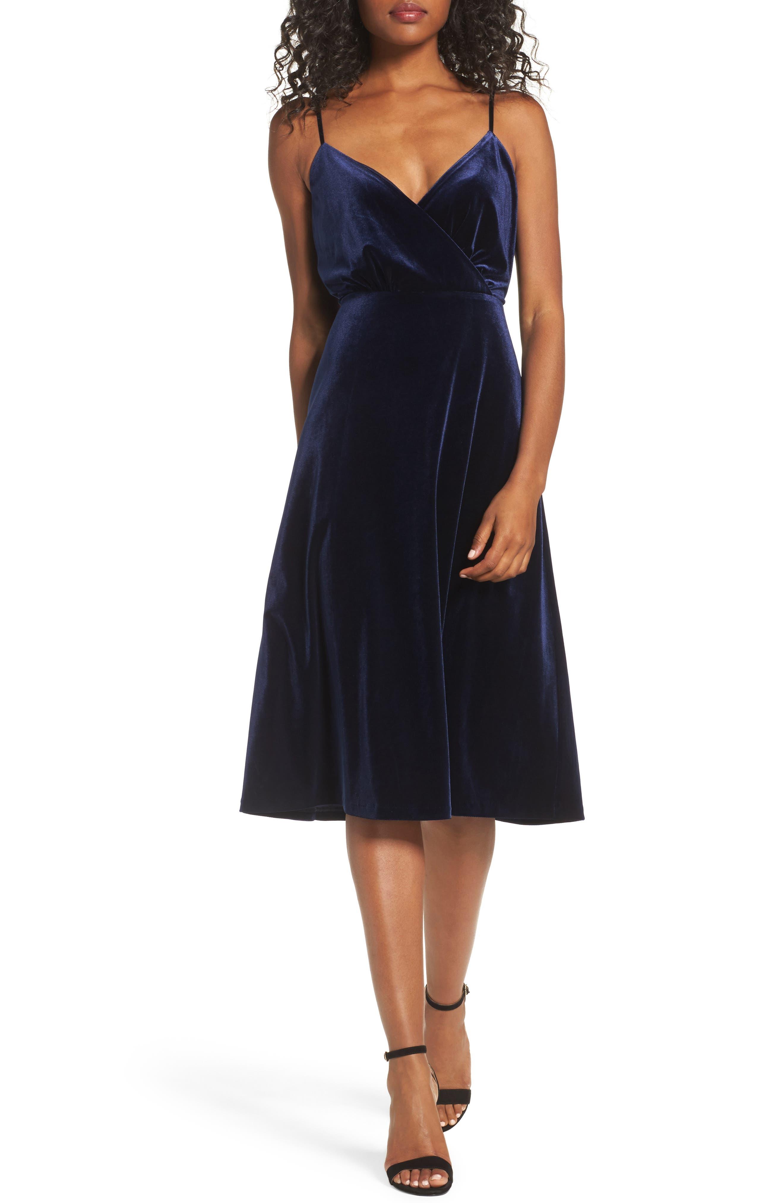Velvet Faux Wrap Midi Dress,                             Main thumbnail 1, color,                             NAVY