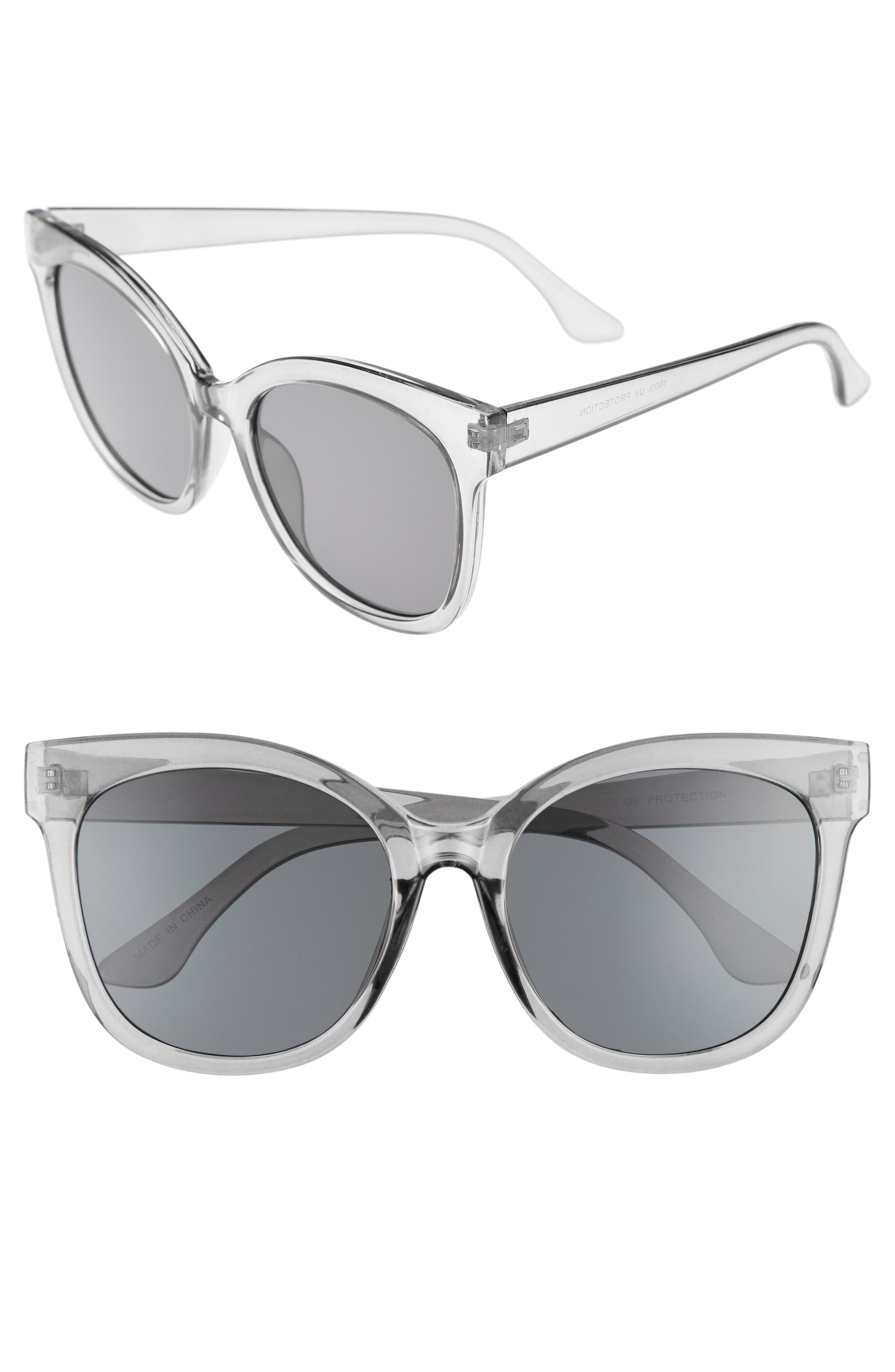 55mm Square Sunglasses,                             Main thumbnail 1, color,                             001