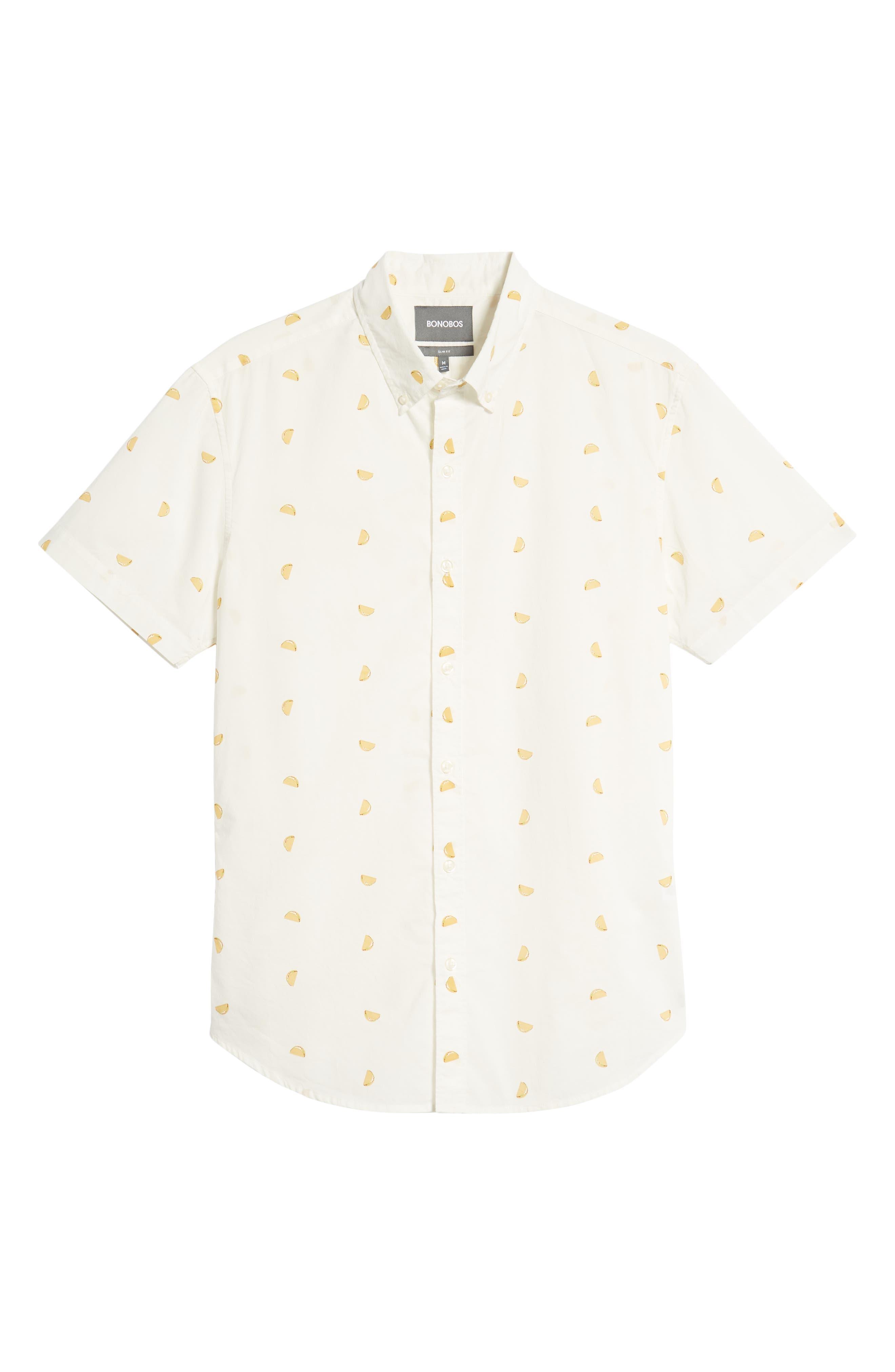 Riviera Slim Fit Taco Print Sport Shirt,                             Alternate thumbnail 6, color,                             TACO TOSS - GOLDEN LOTUS