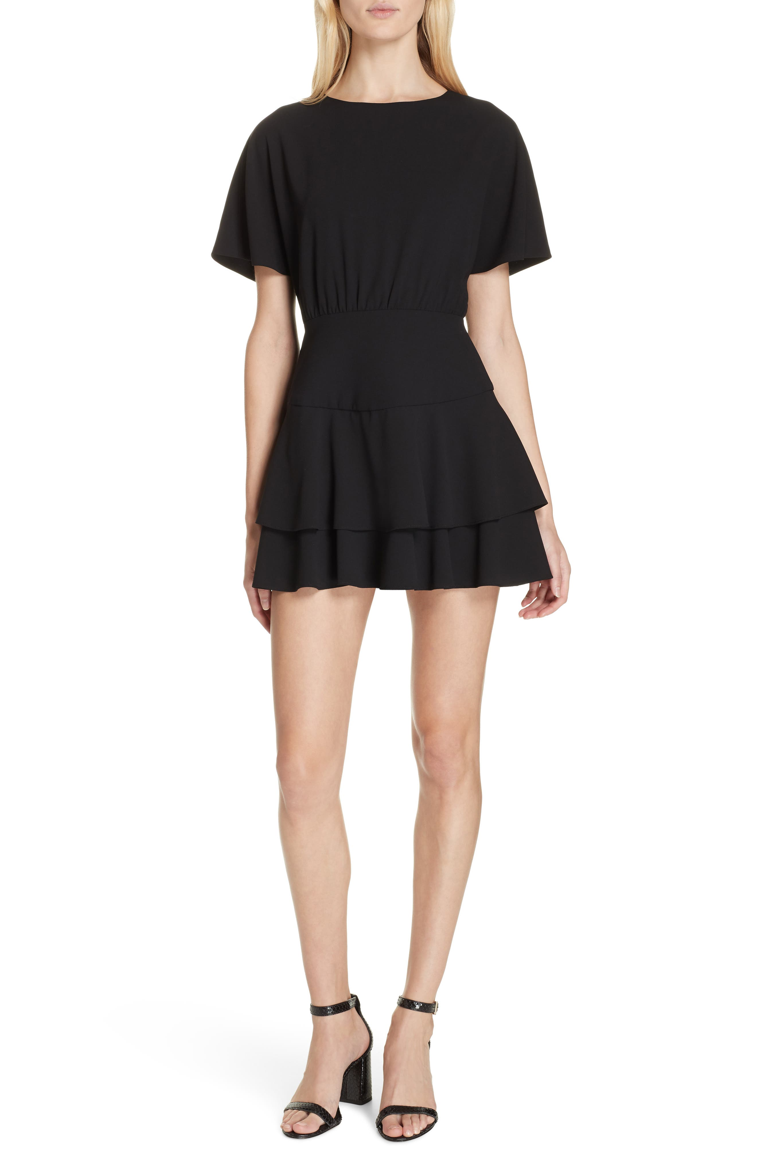 Palmira Tiered Fit & Flare Minidress,                             Main thumbnail 1, color,                             001
