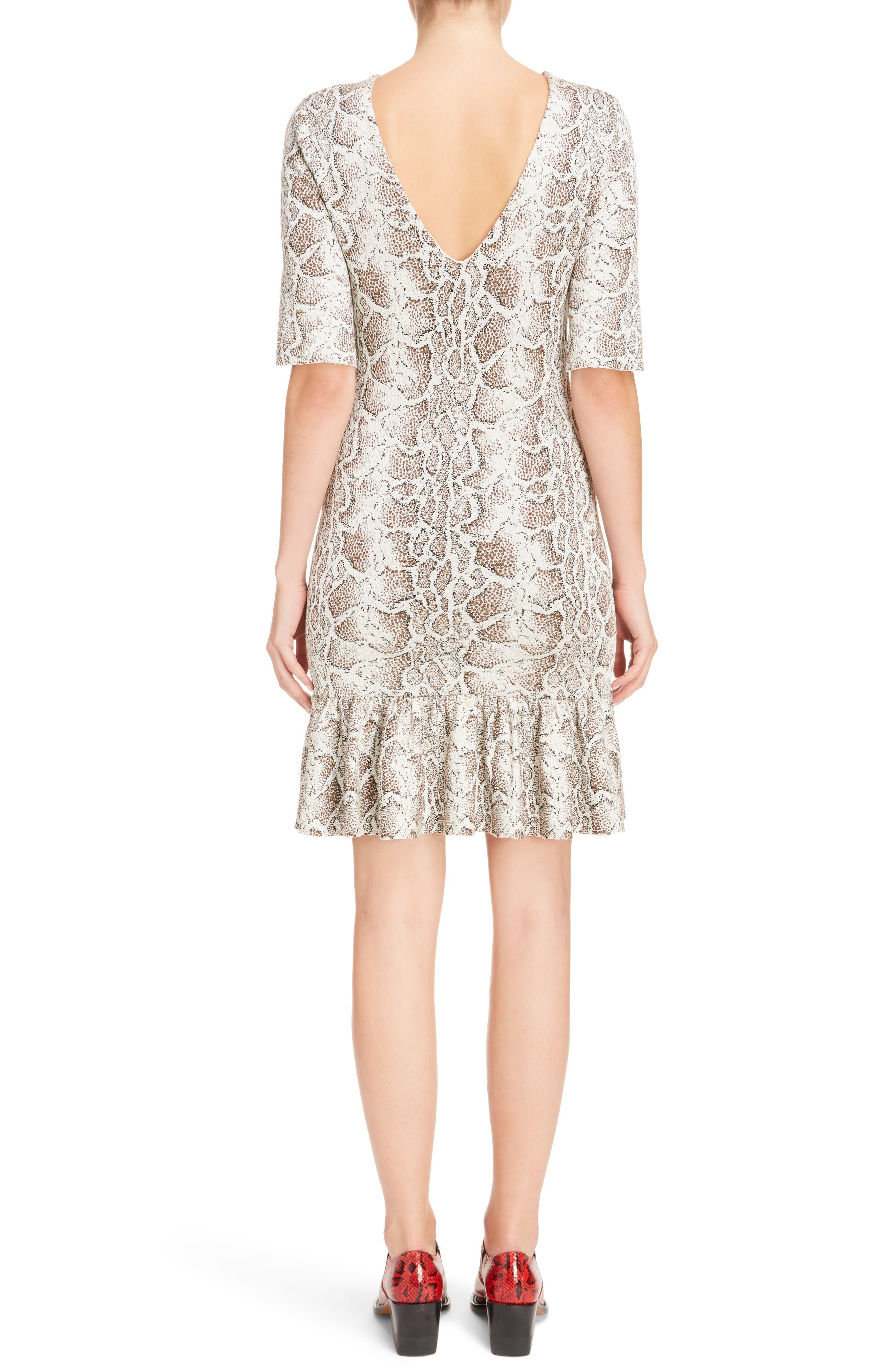 Python Jacquard Ruffle Hem Dress,                             Alternate thumbnail 2, color,                             240