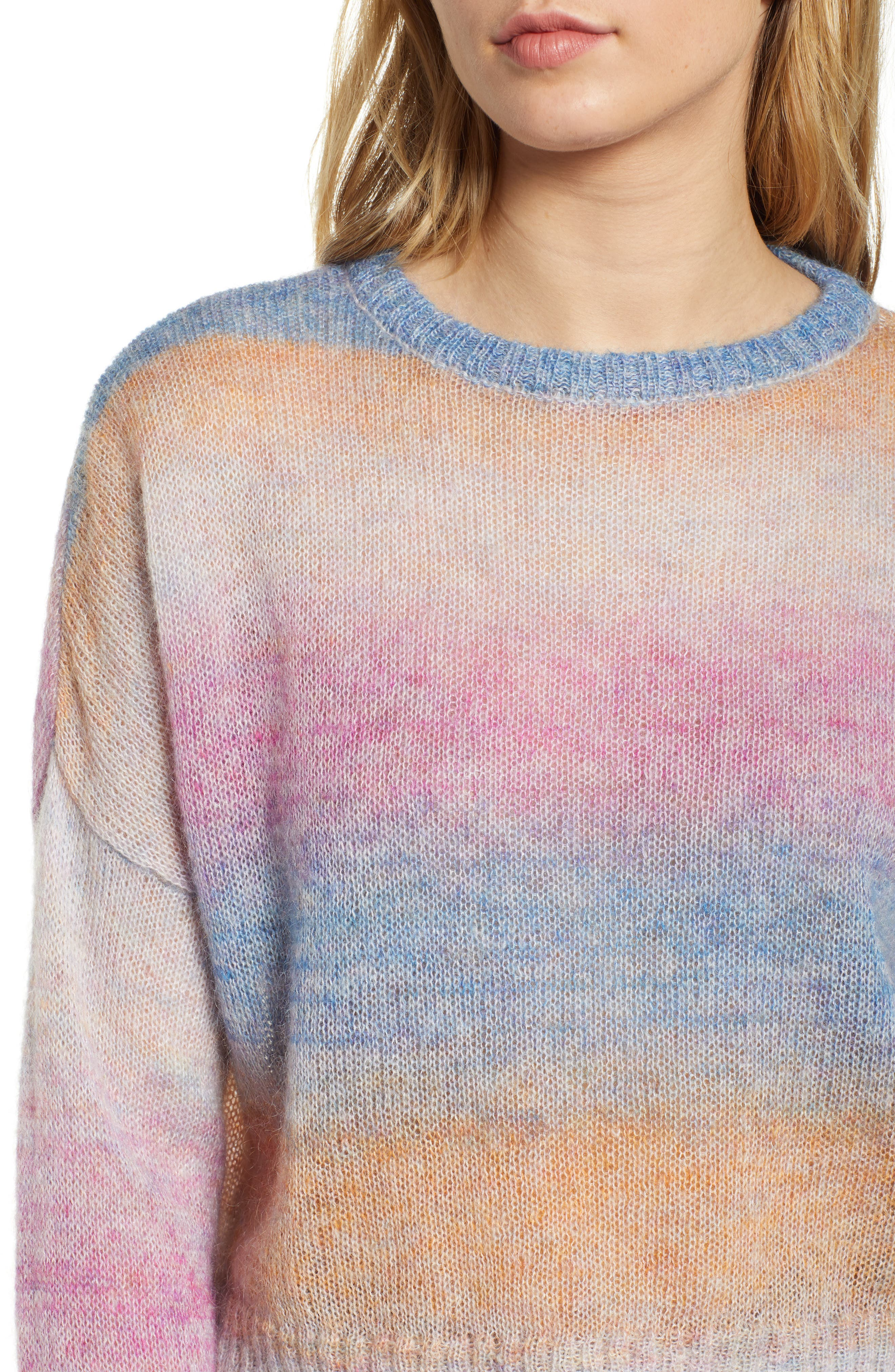Camille Stripe Sweater,                             Alternate thumbnail 5, color,                             RAINBOW