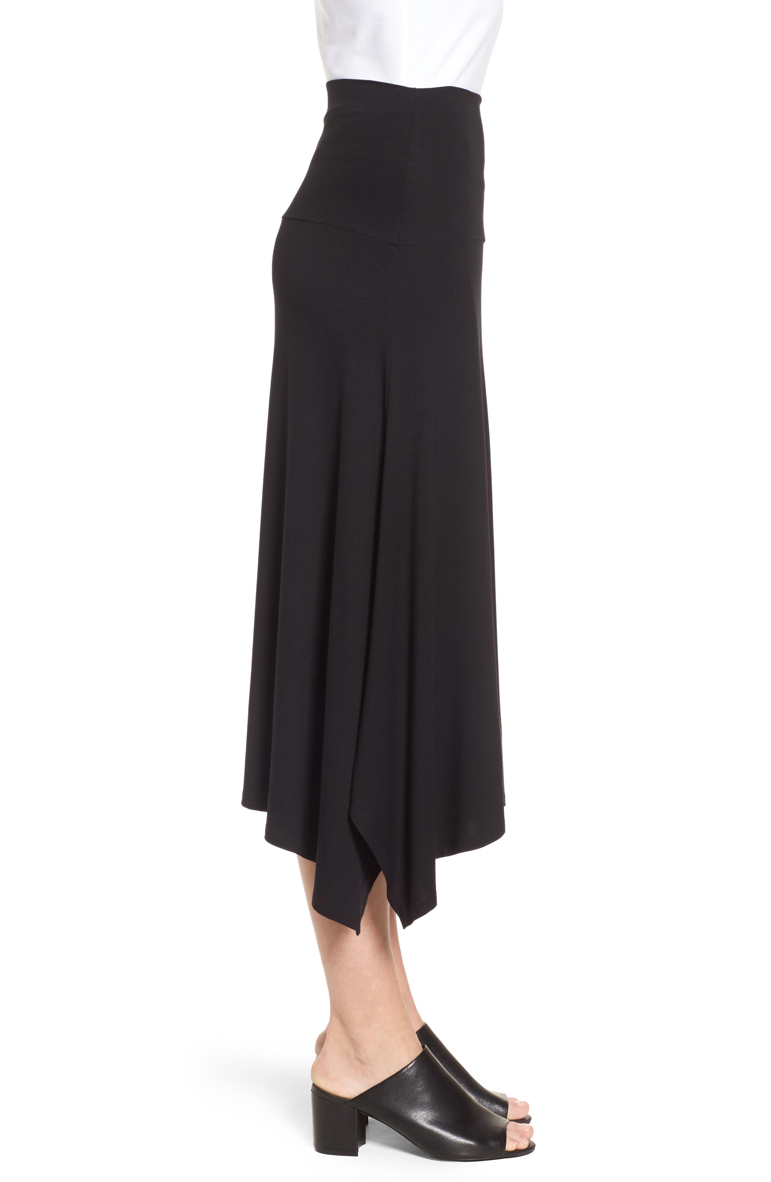 Flared Knit Skirt,                             Alternate thumbnail 3, color,                             001