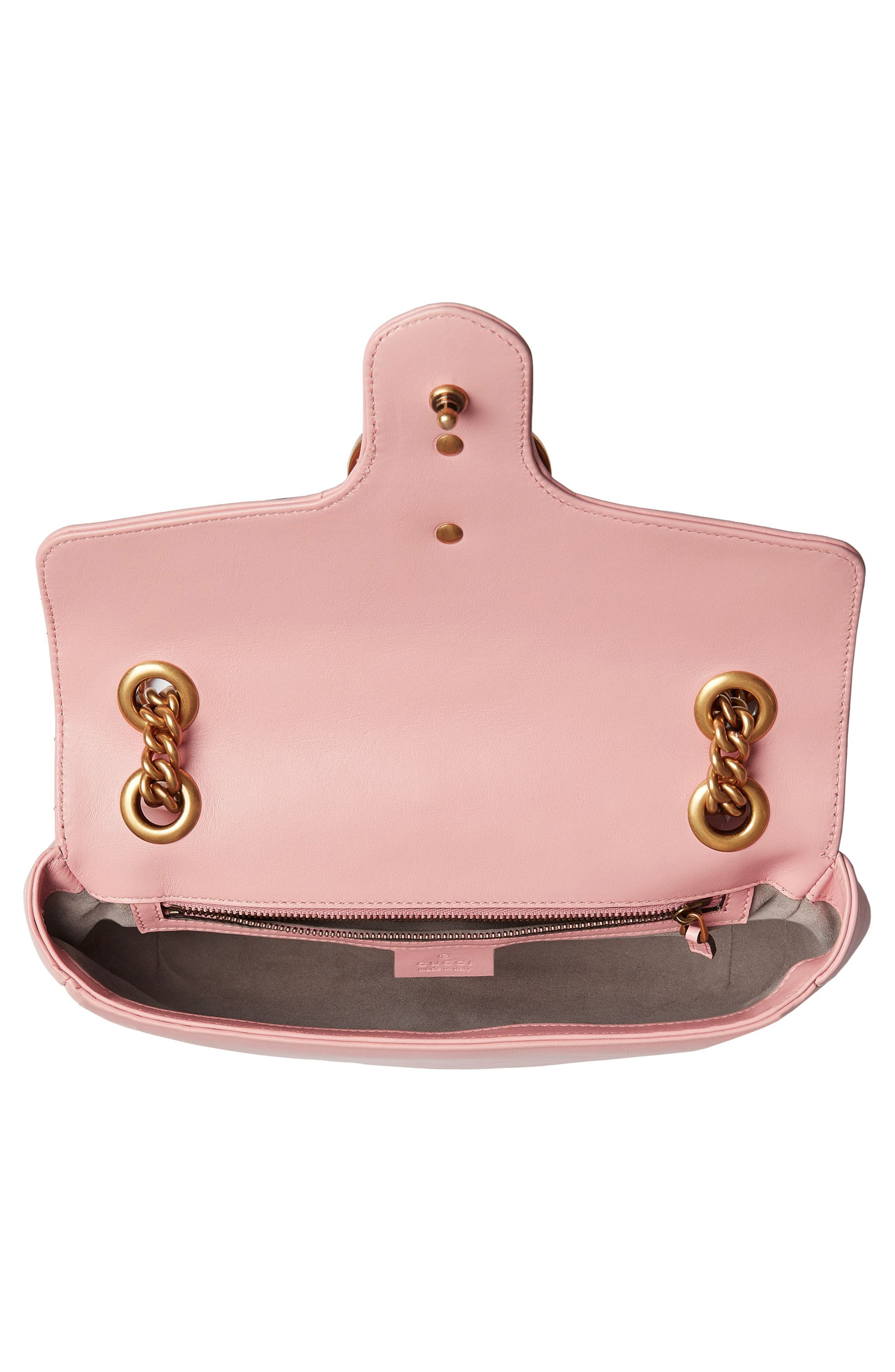Small GG Marmont 2.0 Matelassé Leather Shoulder Bag,                             Alternate thumbnail 4, color,                             PERFECT PINK/ PERFECT PINK