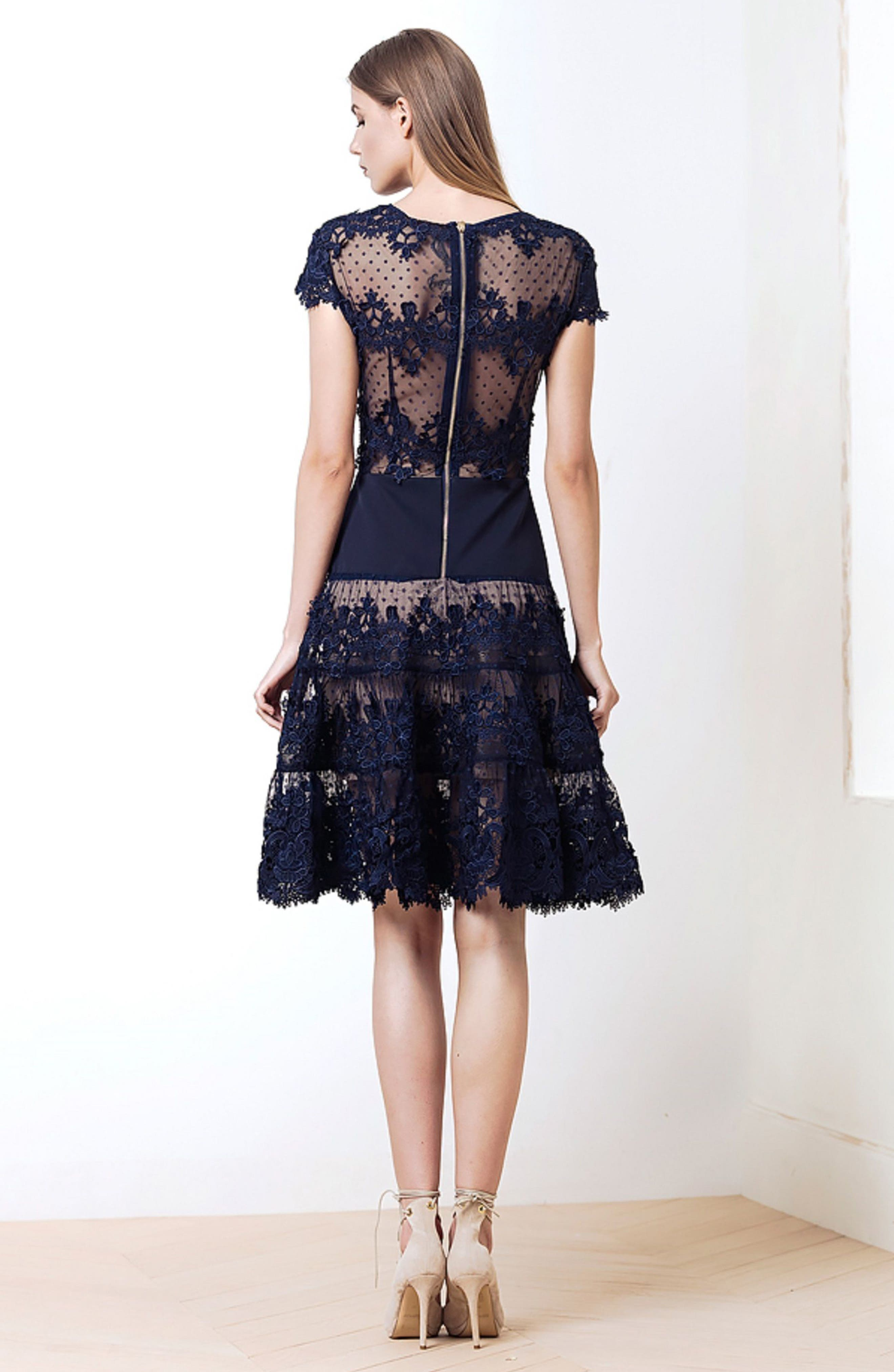 Flamenco Lace Inset Fit & Flare Dress,                             Alternate thumbnail 9, color,                             410