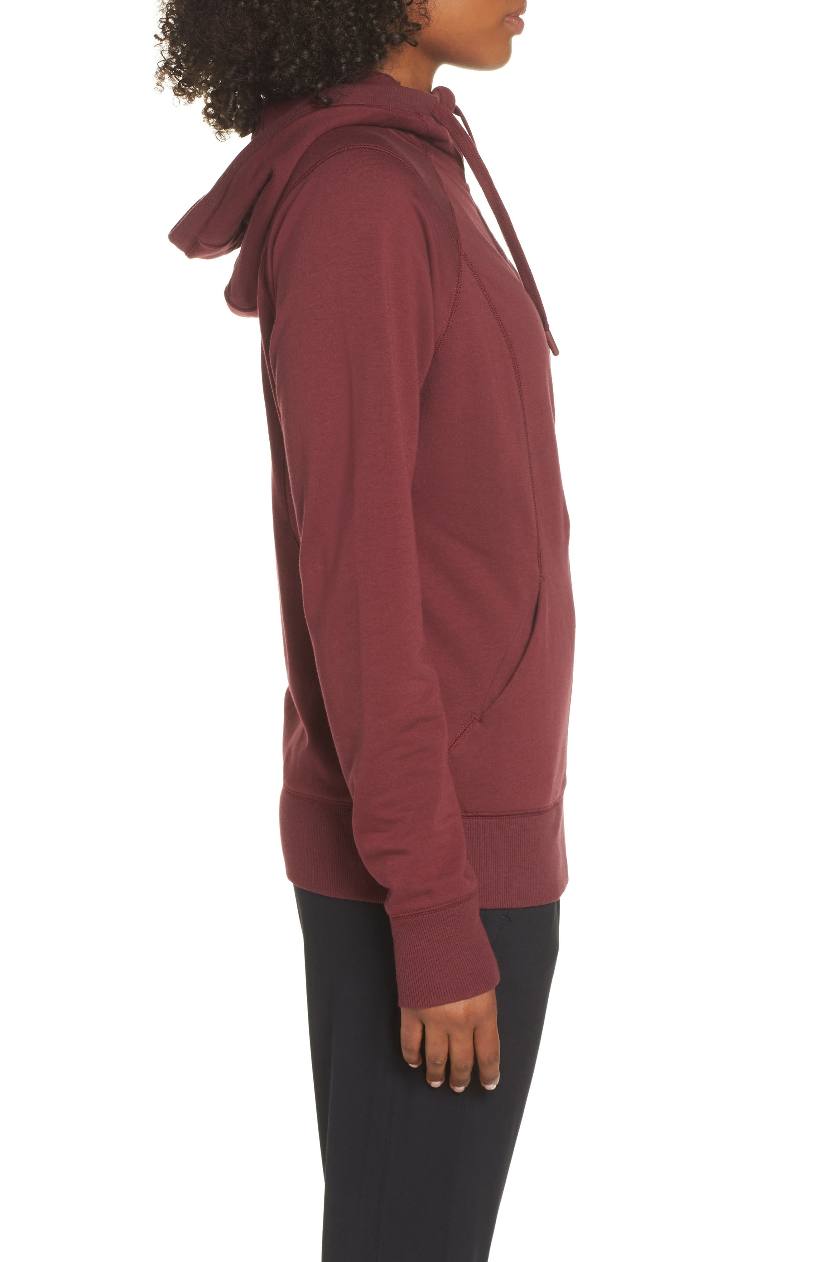 Outta Town Zip Hoodie,                             Alternate thumbnail 3, color,                             RED TANNIN