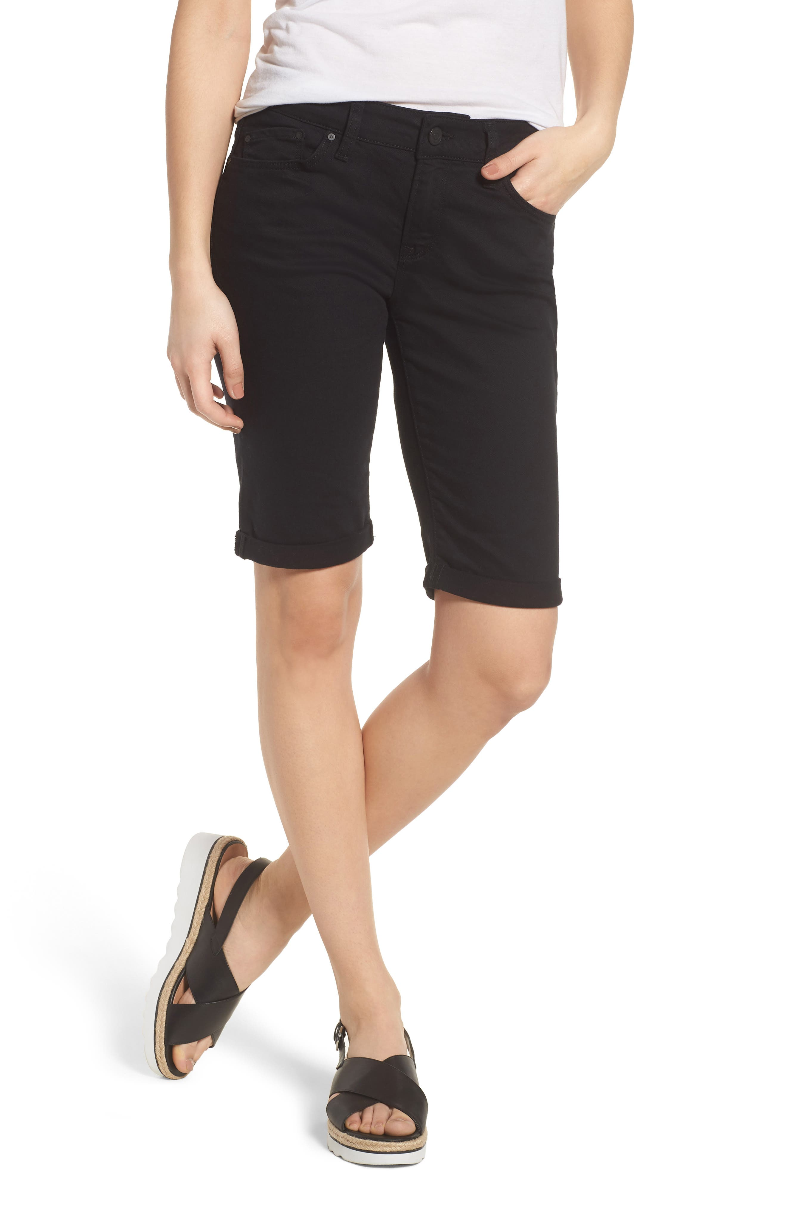 Karly Black Nolita Roll Cuff Bermuda Shorts,                         Main,                         color,