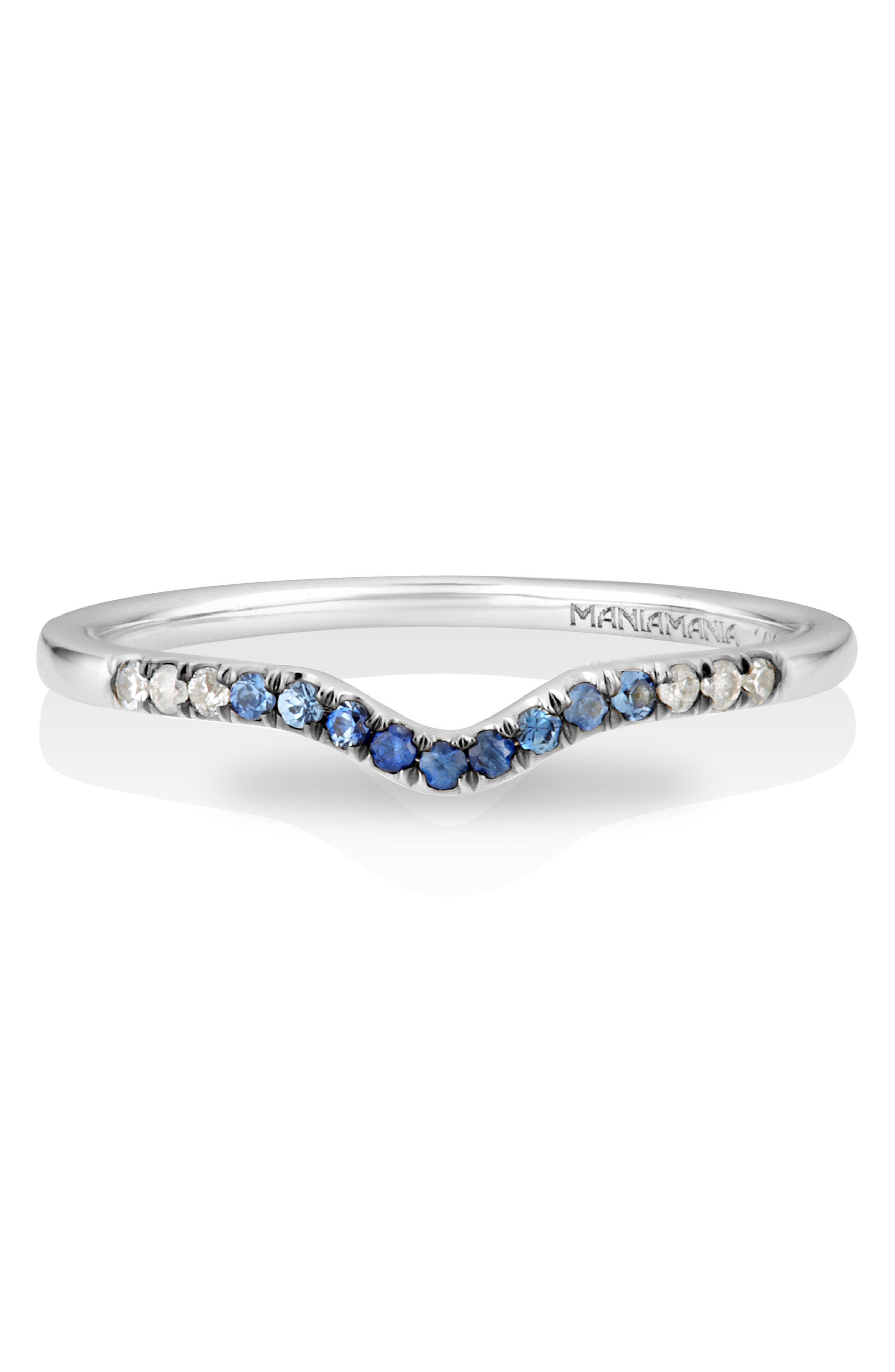 MANIAMANIA,                             Unity Gradient Sapphire Band Ring,                             Alternate thumbnail 2, color,                             BLUE SAPPHIRE/ WHITE GOLD