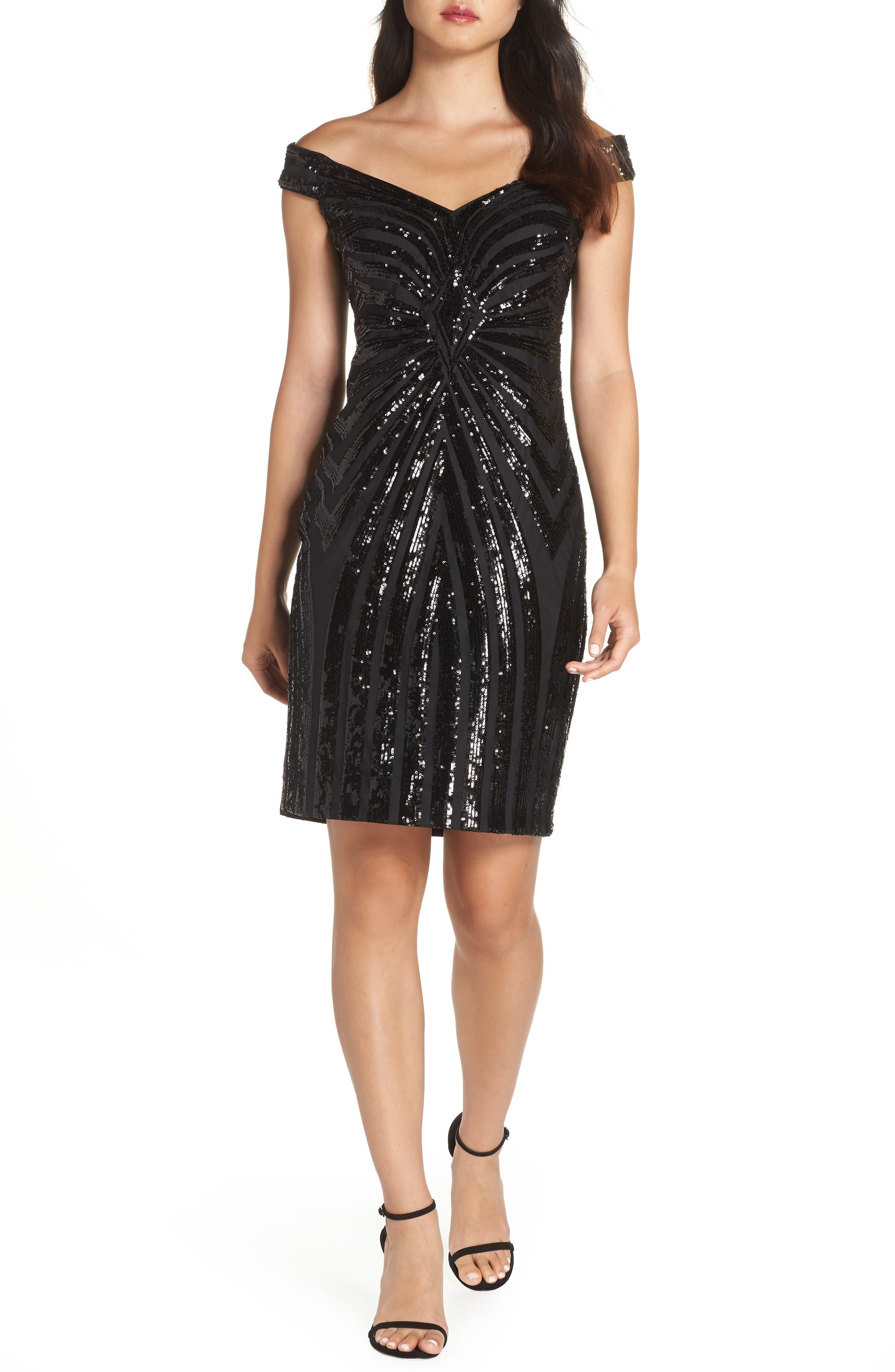 Sequin Embellished Off the Shoulder Dress,                             Main thumbnail 1, color,                             BLACK
