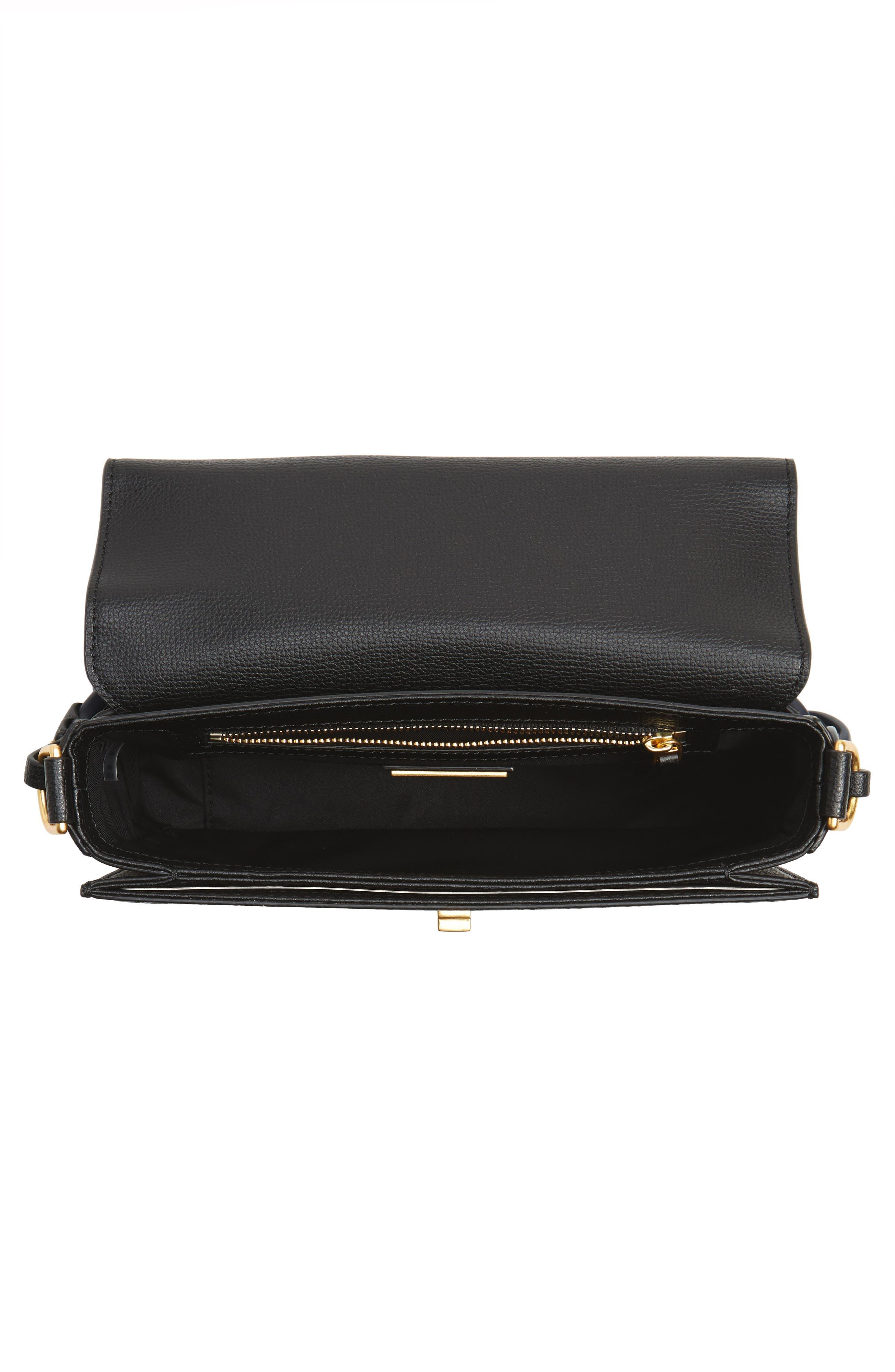 Kira Leather Shoulder Bag,                             Alternate thumbnail 5, color,                             BLACK