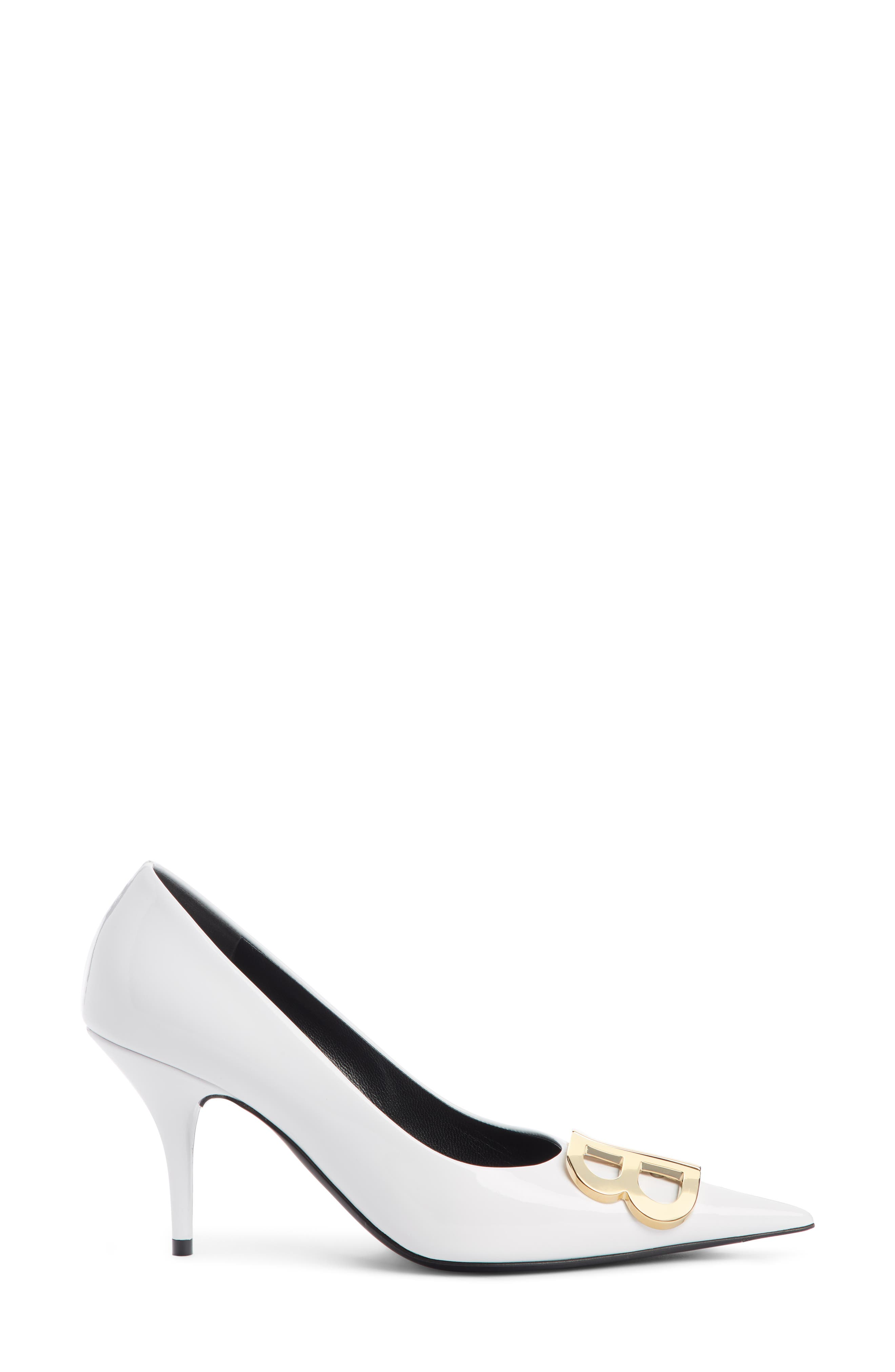 BB Pointy Toe Pump,                             Alternate thumbnail 3, color,                             WHITE PATENT