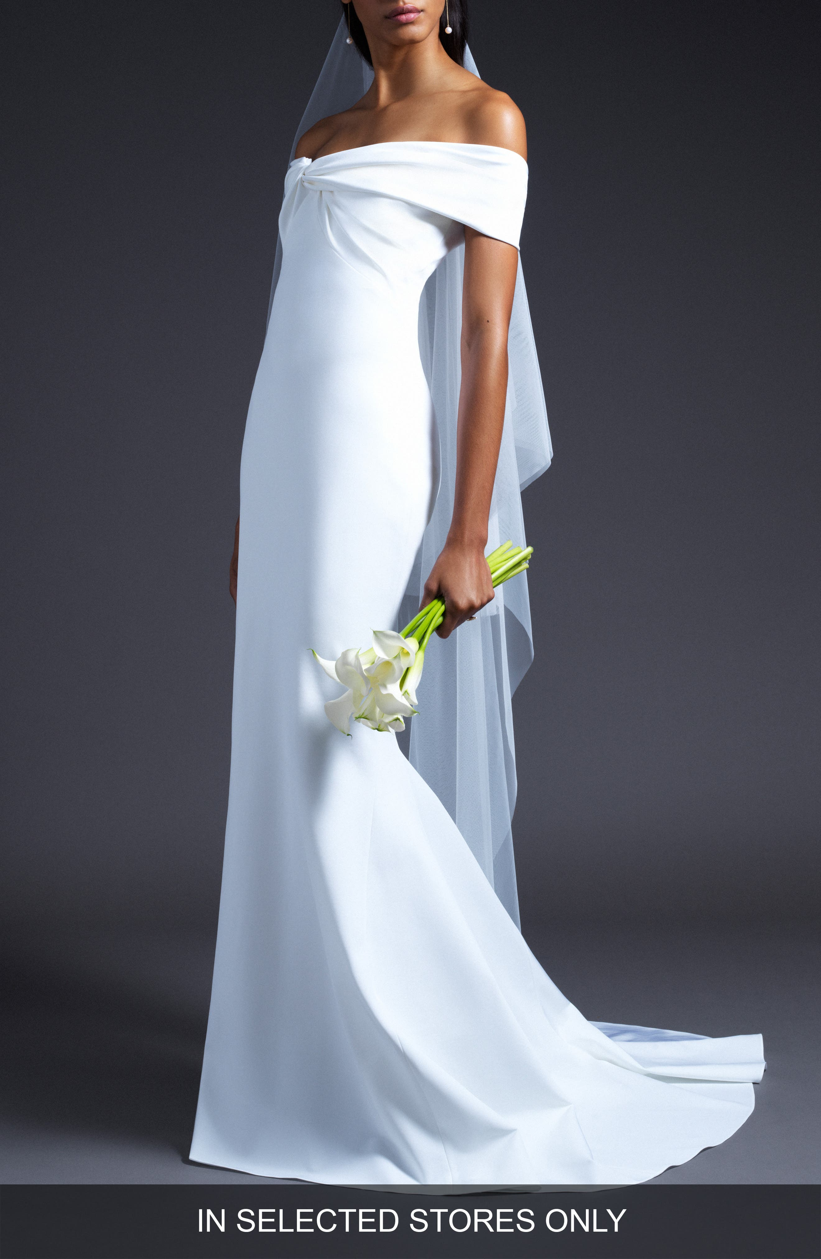 CUSHNIE,                             Knotted Off The Shoulder Wedding Dress,                             Main thumbnail 1, color,                             WHITE