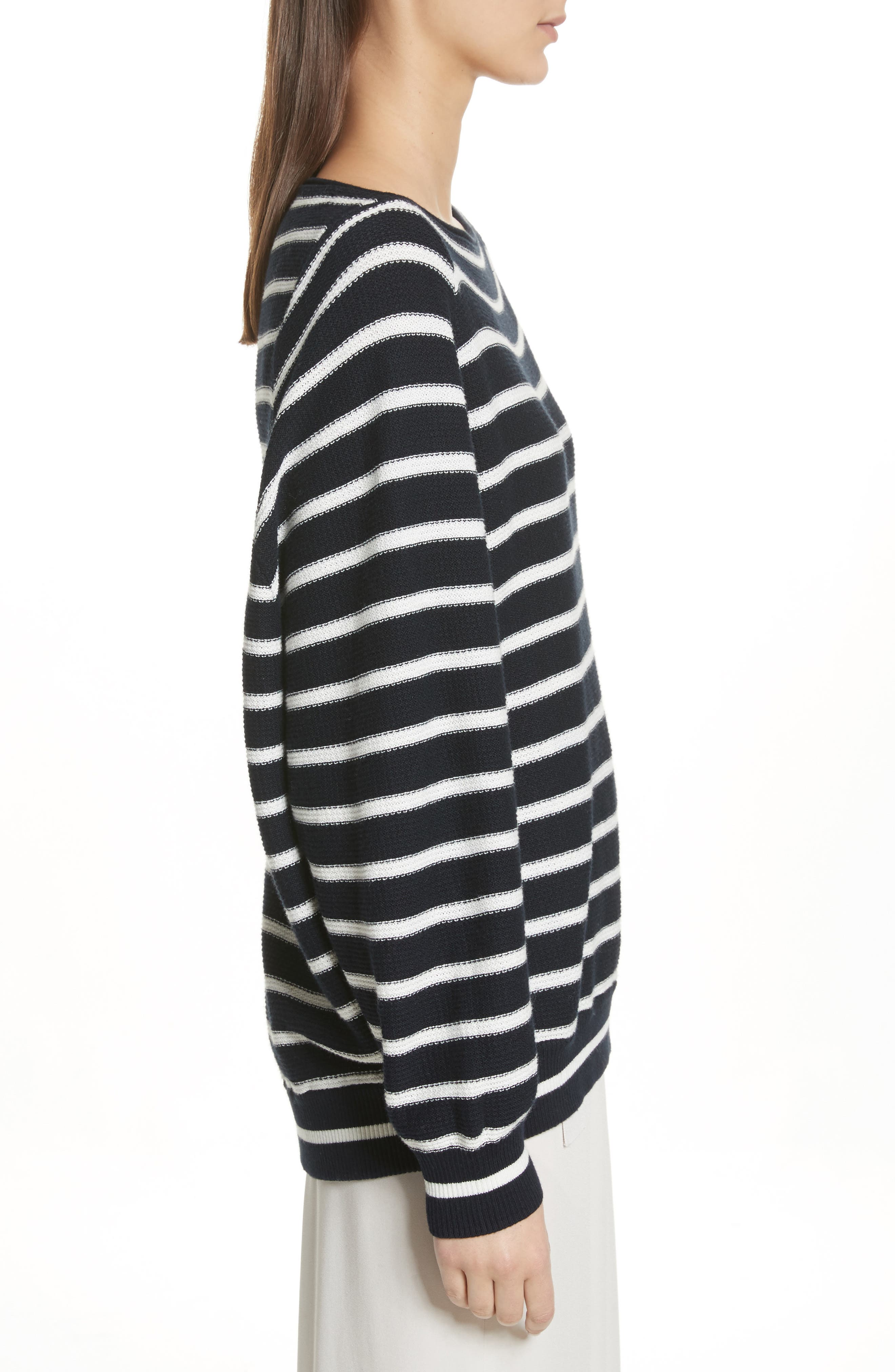Stripe Waffle Knit Top,                             Alternate thumbnail 3, color,                             497