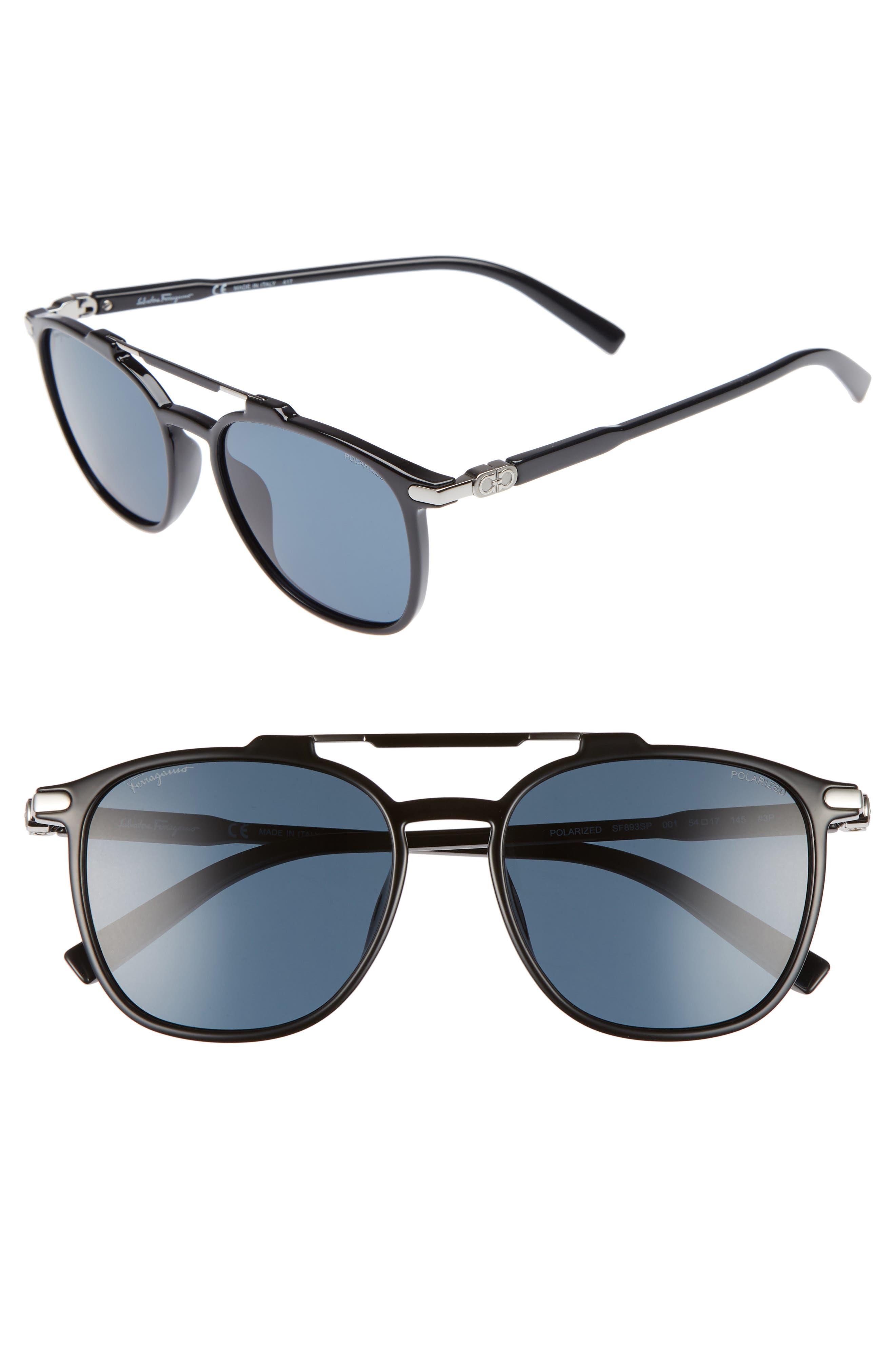 Double Gancio 54mm Polarized Sunglasses,                             Main thumbnail 1, color,                             BLACK