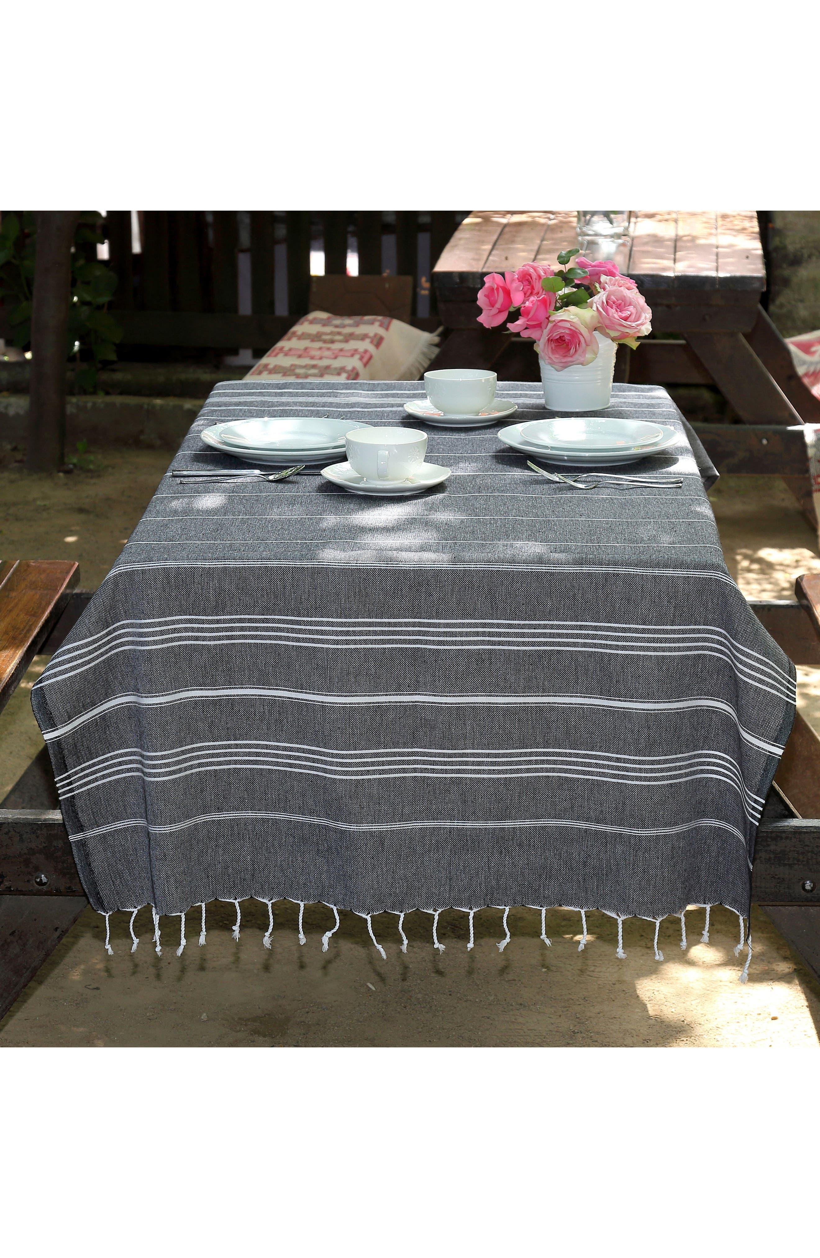 'Lucky' Turkish Pestemal Towel,                             Alternate thumbnail 6, color,                             BLACK