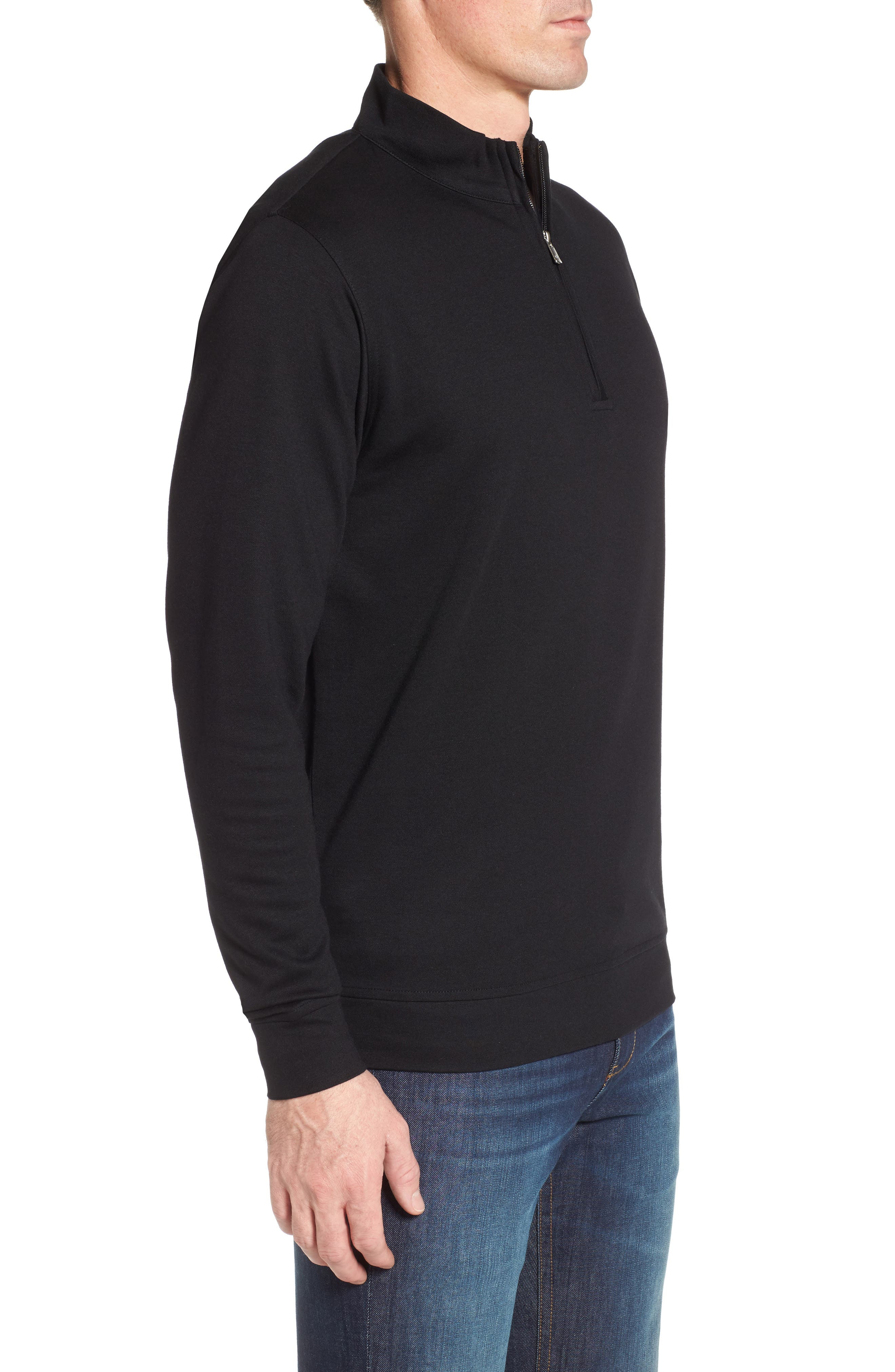 Crown Comfort Jersey Quarter Zip Pullover,                             Alternate thumbnail 3, color,                             001