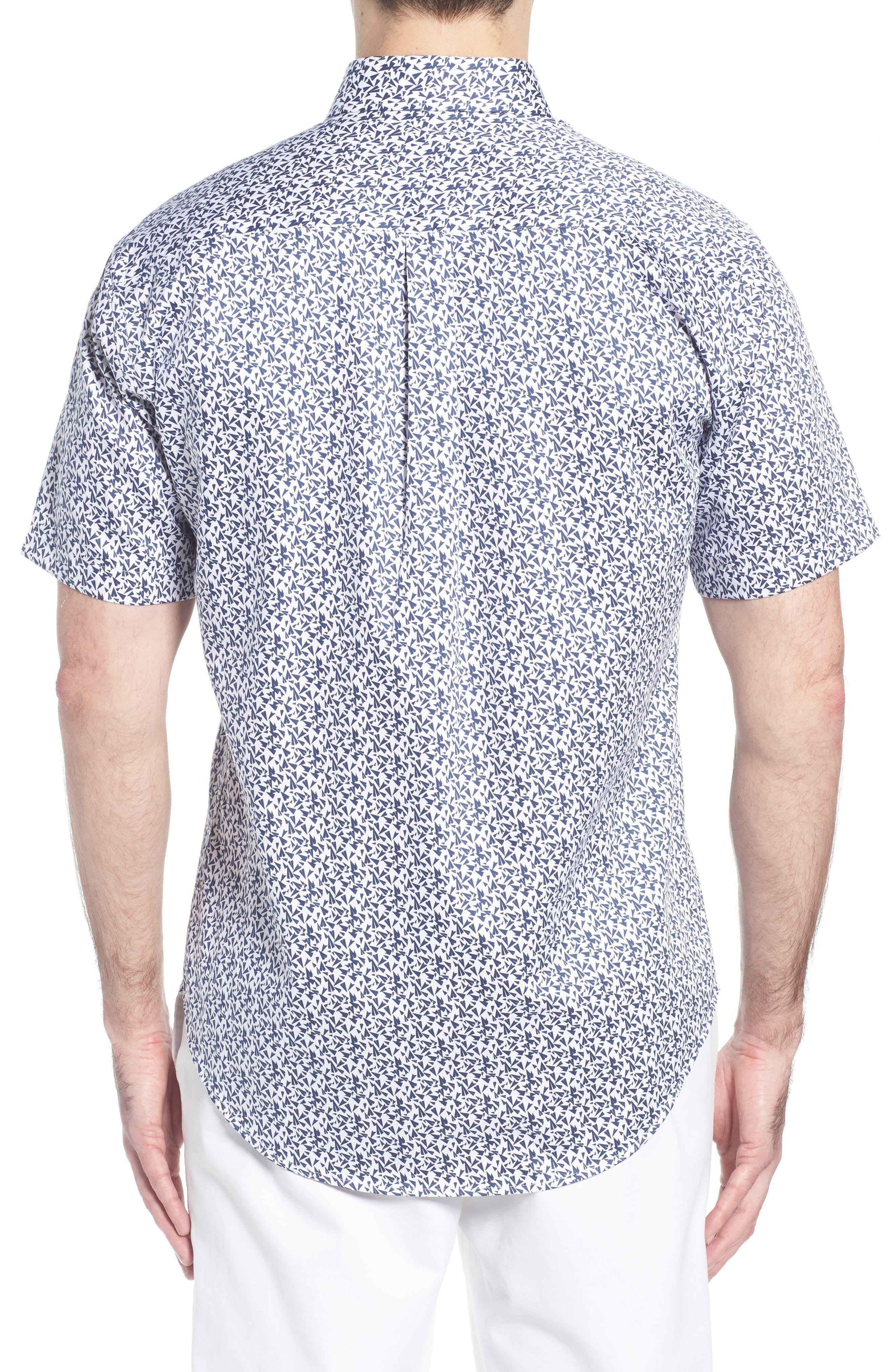 Fly Like Paper Print Sport Shirt,                             Alternate thumbnail 2, color,                             WHITE
