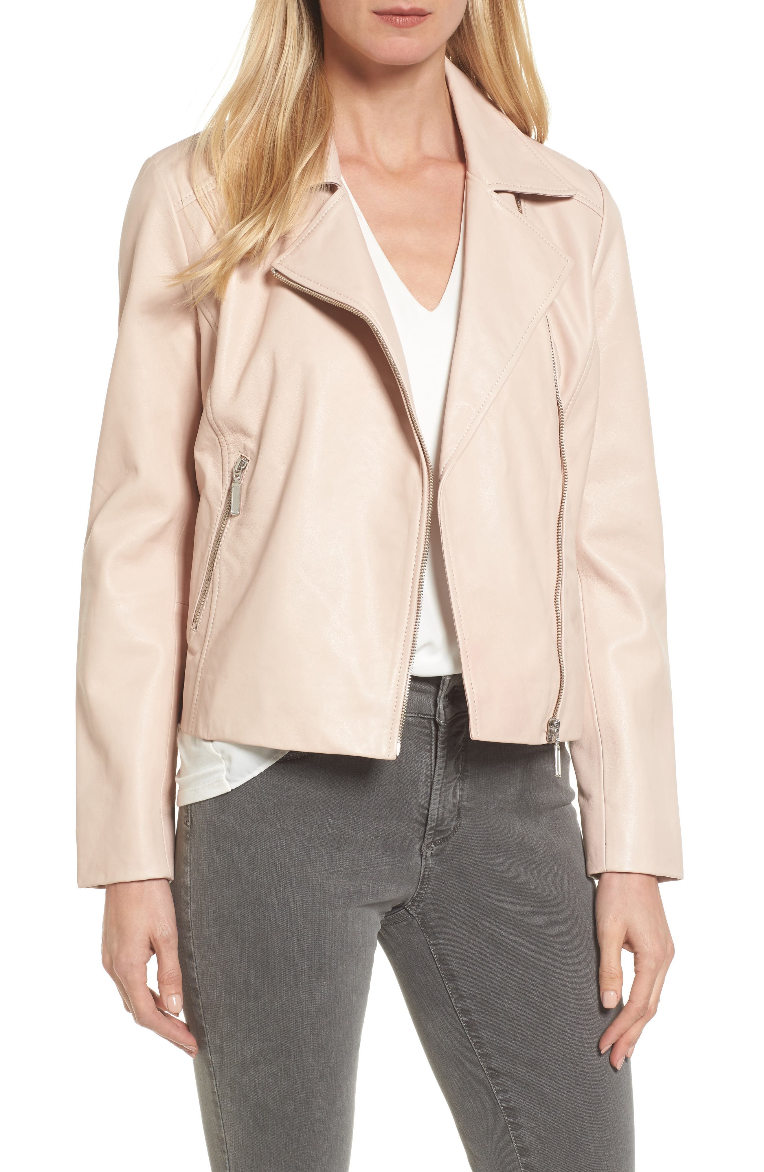 Leather Moto Jacket,                             Main thumbnail 2, color,