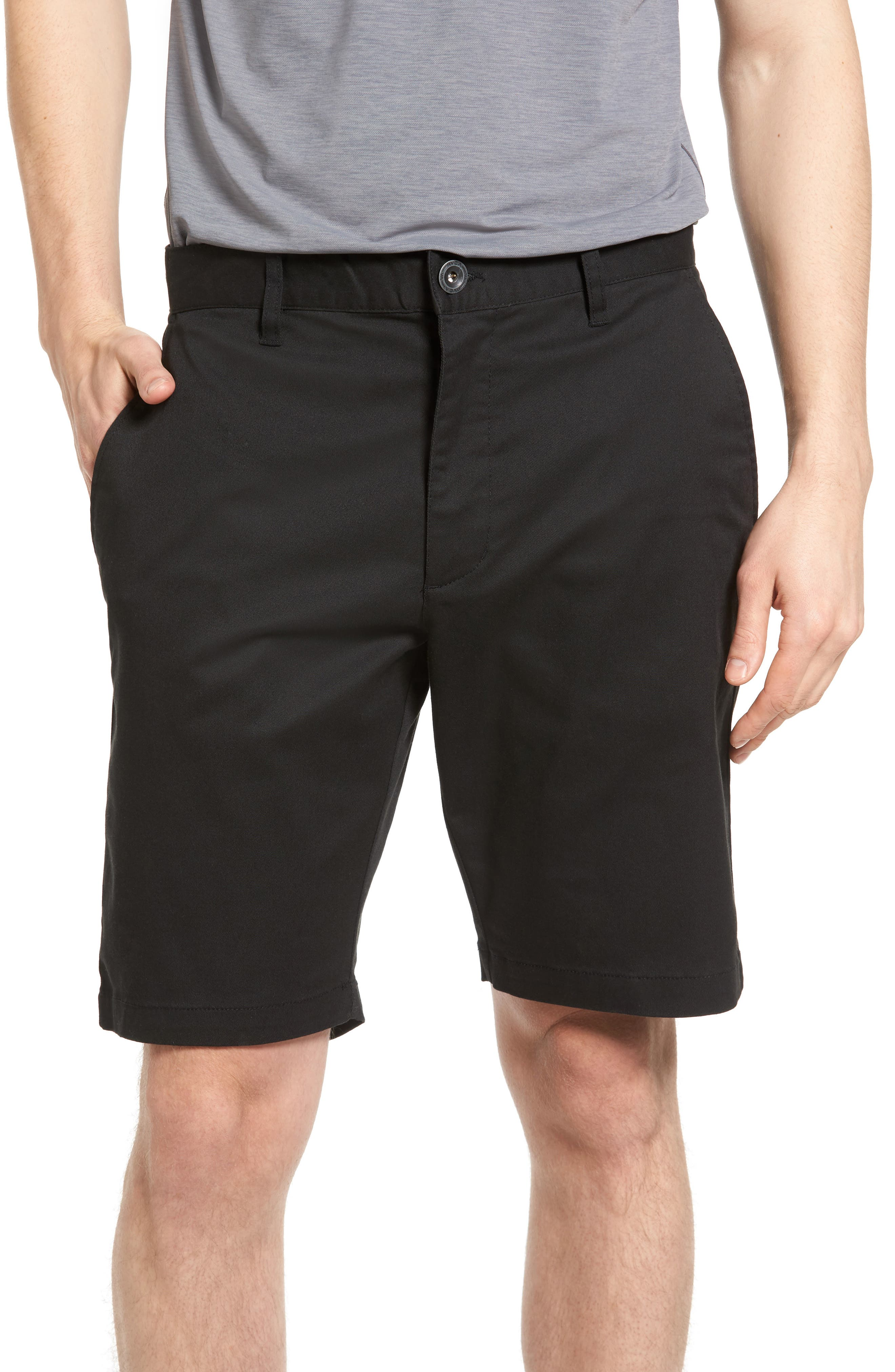 The Week-End Stretch Twill Chino Shorts, Main, color, BLACK