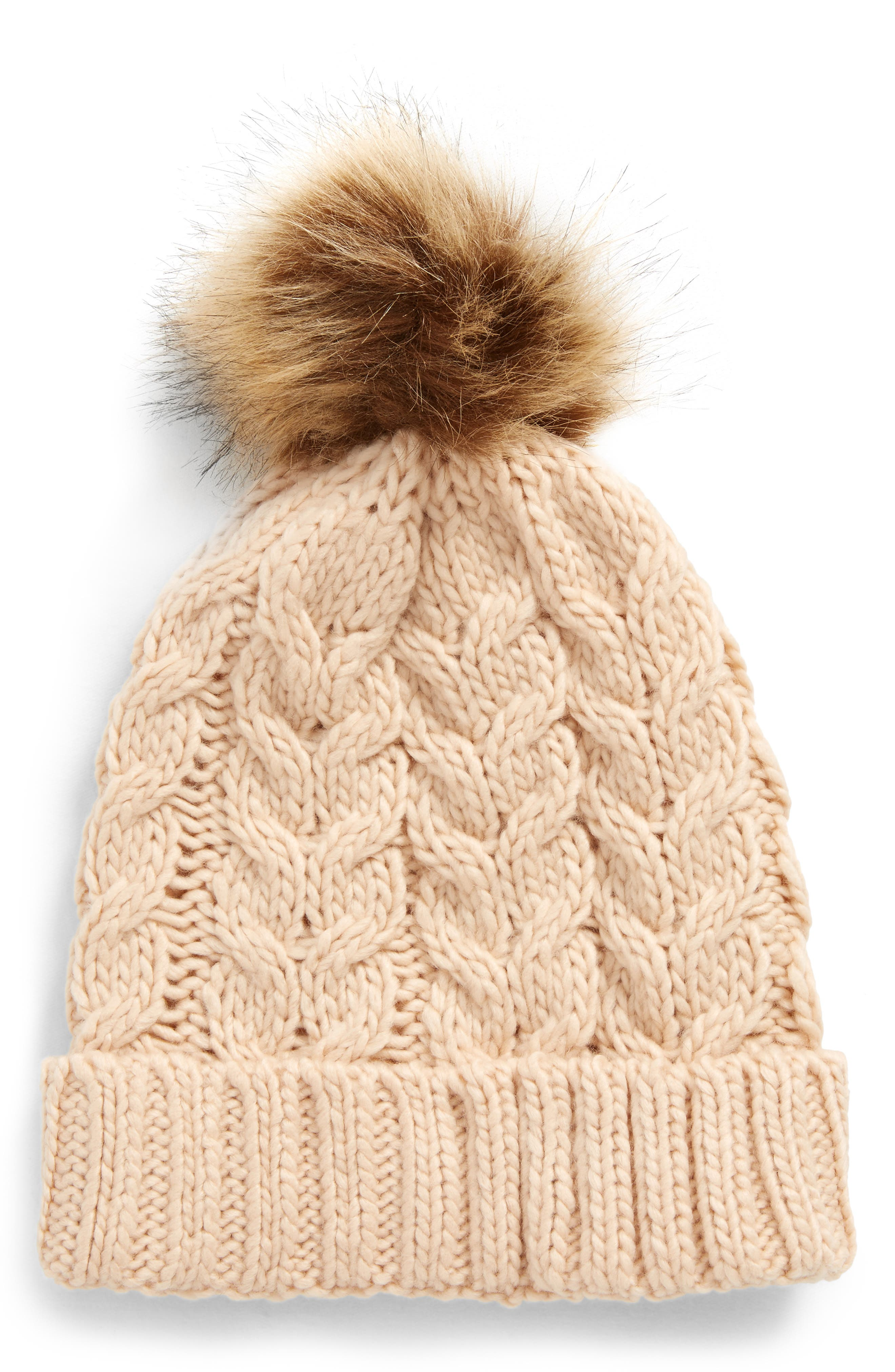 Knit Beanie with Faux Fur Pompom,                         Main,                         color,