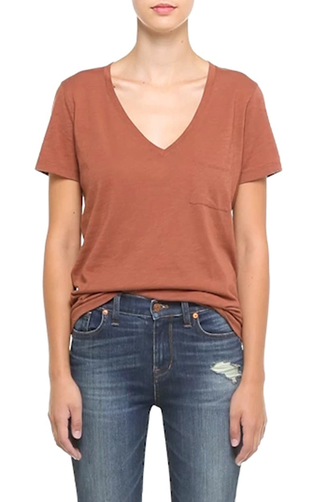 Whisper Cotton V-Neck Pocket Tee,                             Alternate thumbnail 115, color,