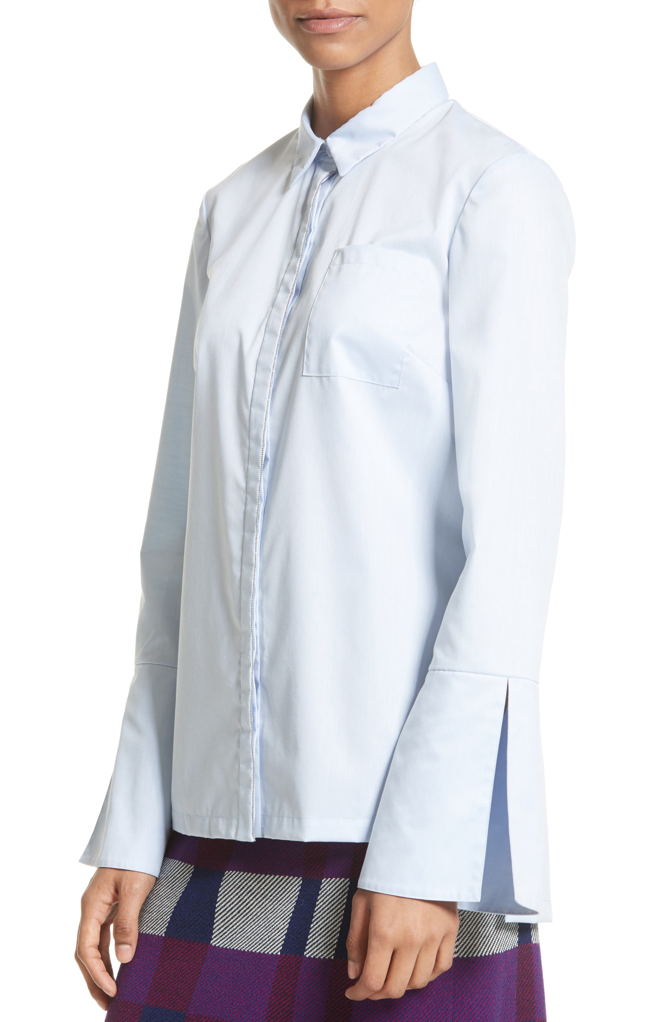 Bell Sleeve High/Low Oxford Shirt,                             Alternate thumbnail 4, color,                             420