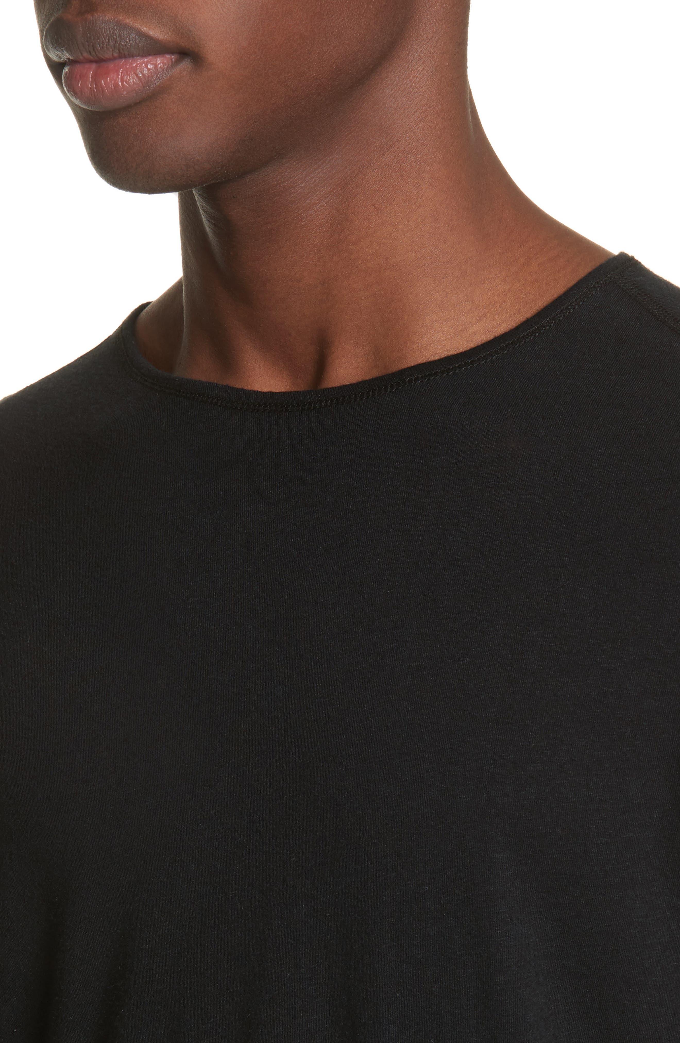 Linen Blend Jersey Long Sleeve T-Shirt,                             Alternate thumbnail 4, color,                             001