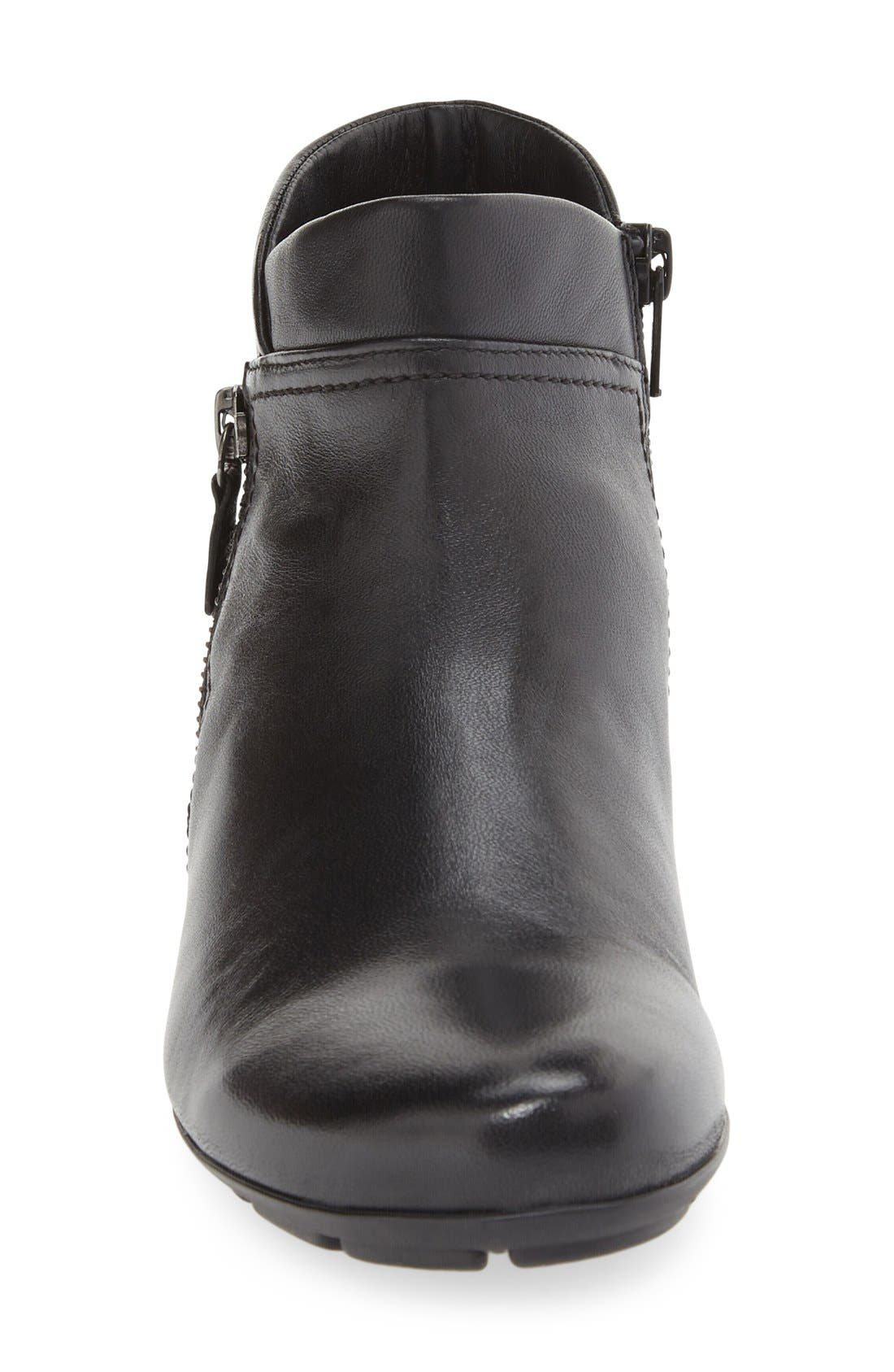 Ankle Bootie,                             Alternate thumbnail 3, color,                             BLACK LEATHER