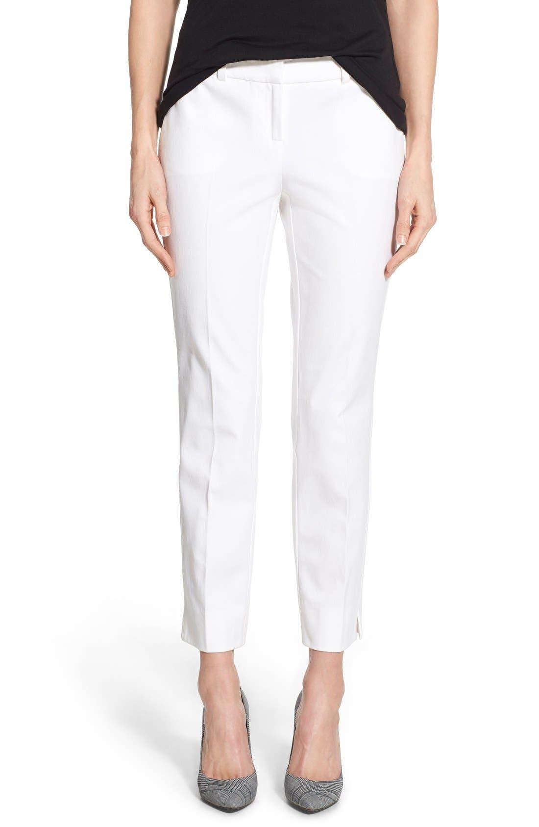 Crop Stretch Cotton Pants,                             Main thumbnail 7, color,