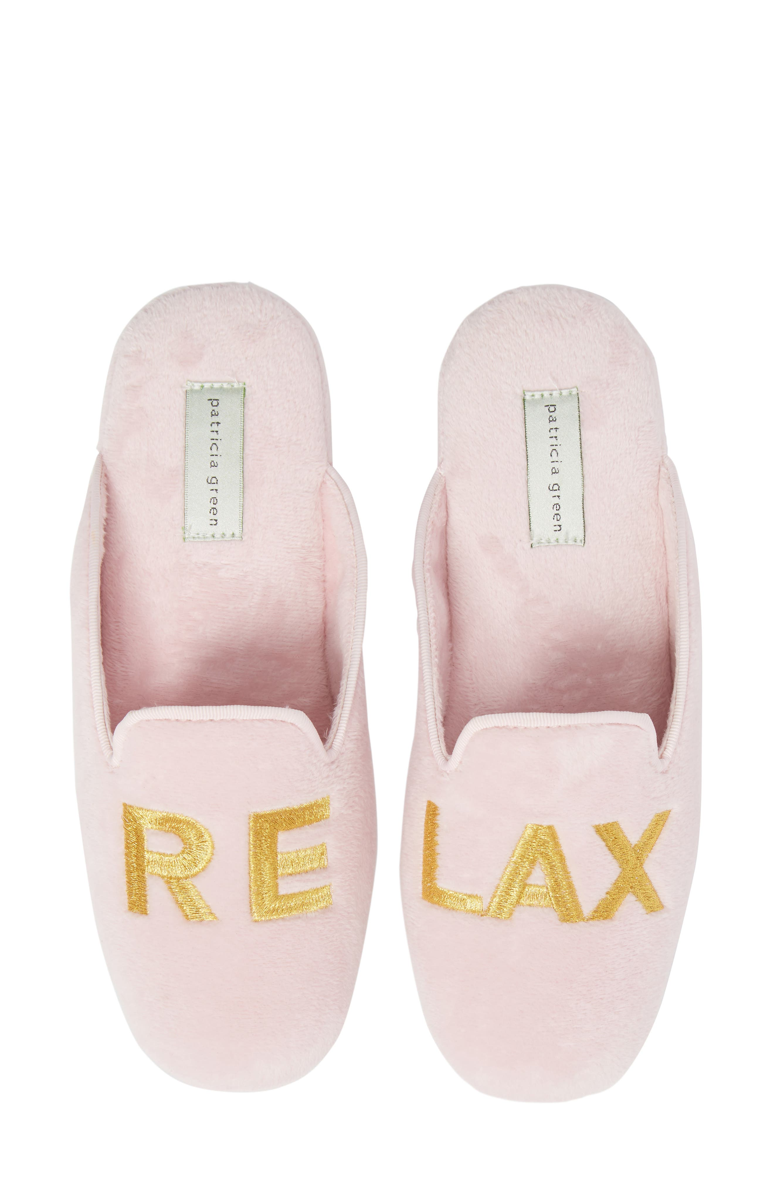 Relax Embroidered Mule Slipper,                             Main thumbnail 1, color,                             PINK FABRIC