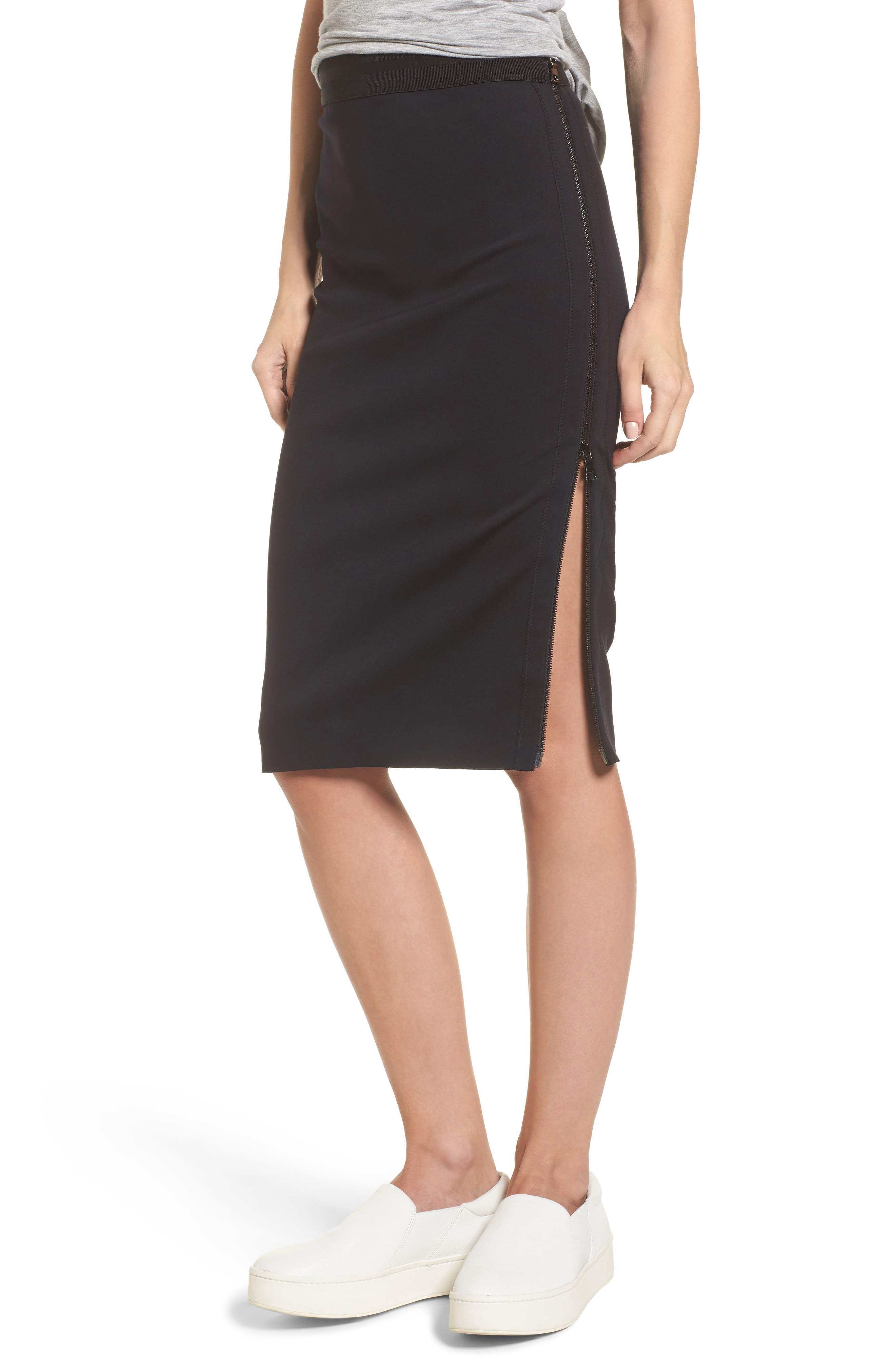Side Zip Pencil Skirt,                             Main thumbnail 1, color,                             001