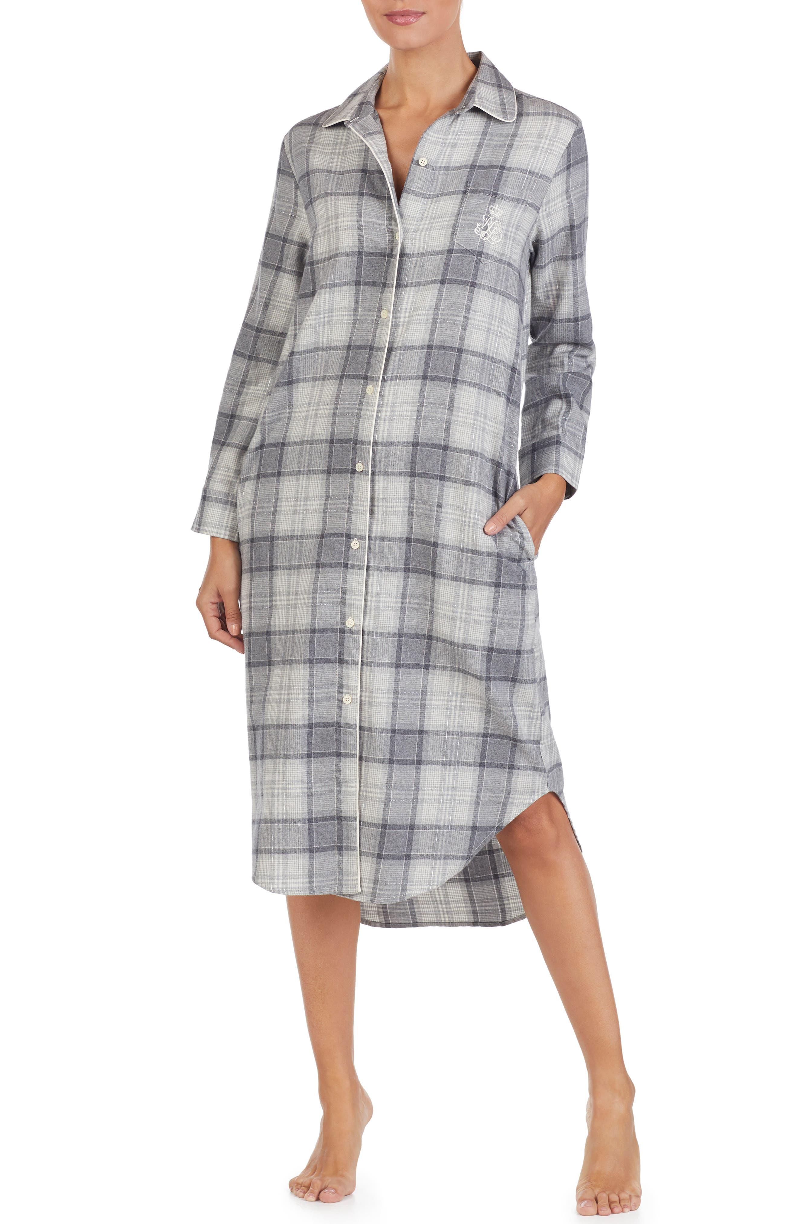 Plaid Flannel Sleep Shirt,                         Main,                         color, GREY PLAID