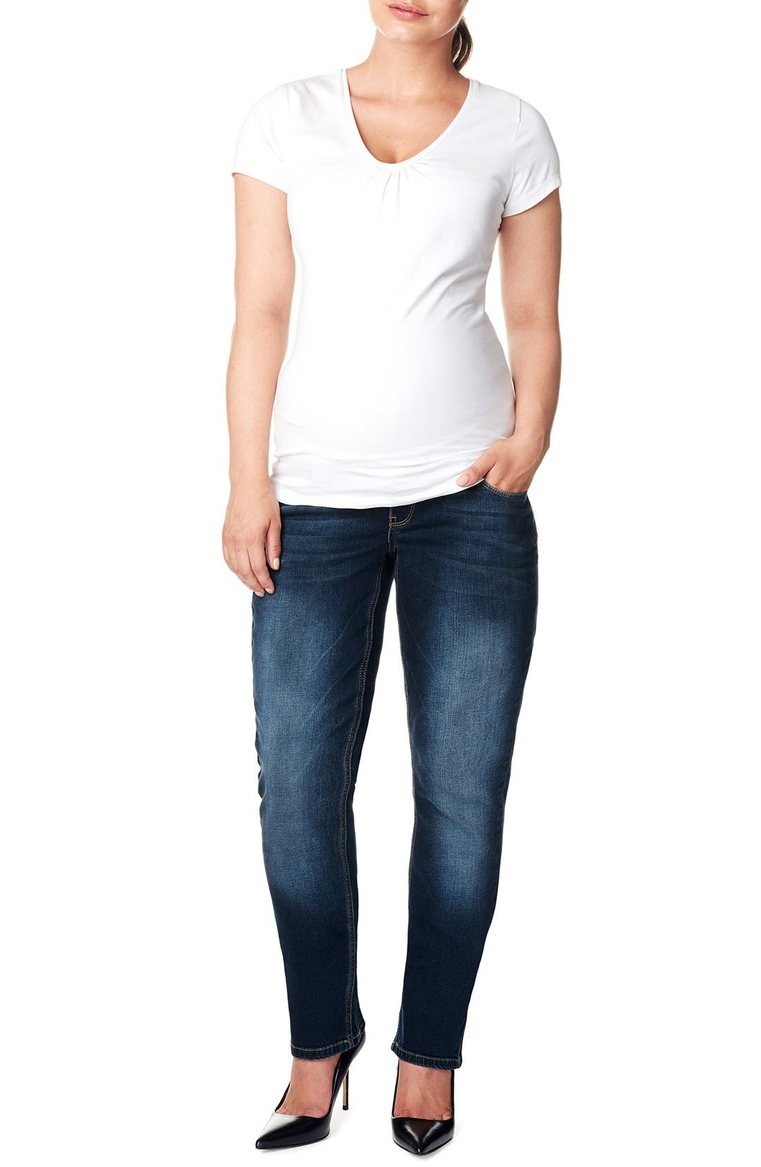 'Mena Comfort' Over the Belly Straight Leg Maternity Jeans,                             Main thumbnail 1, color,                             DARK STONE WASH