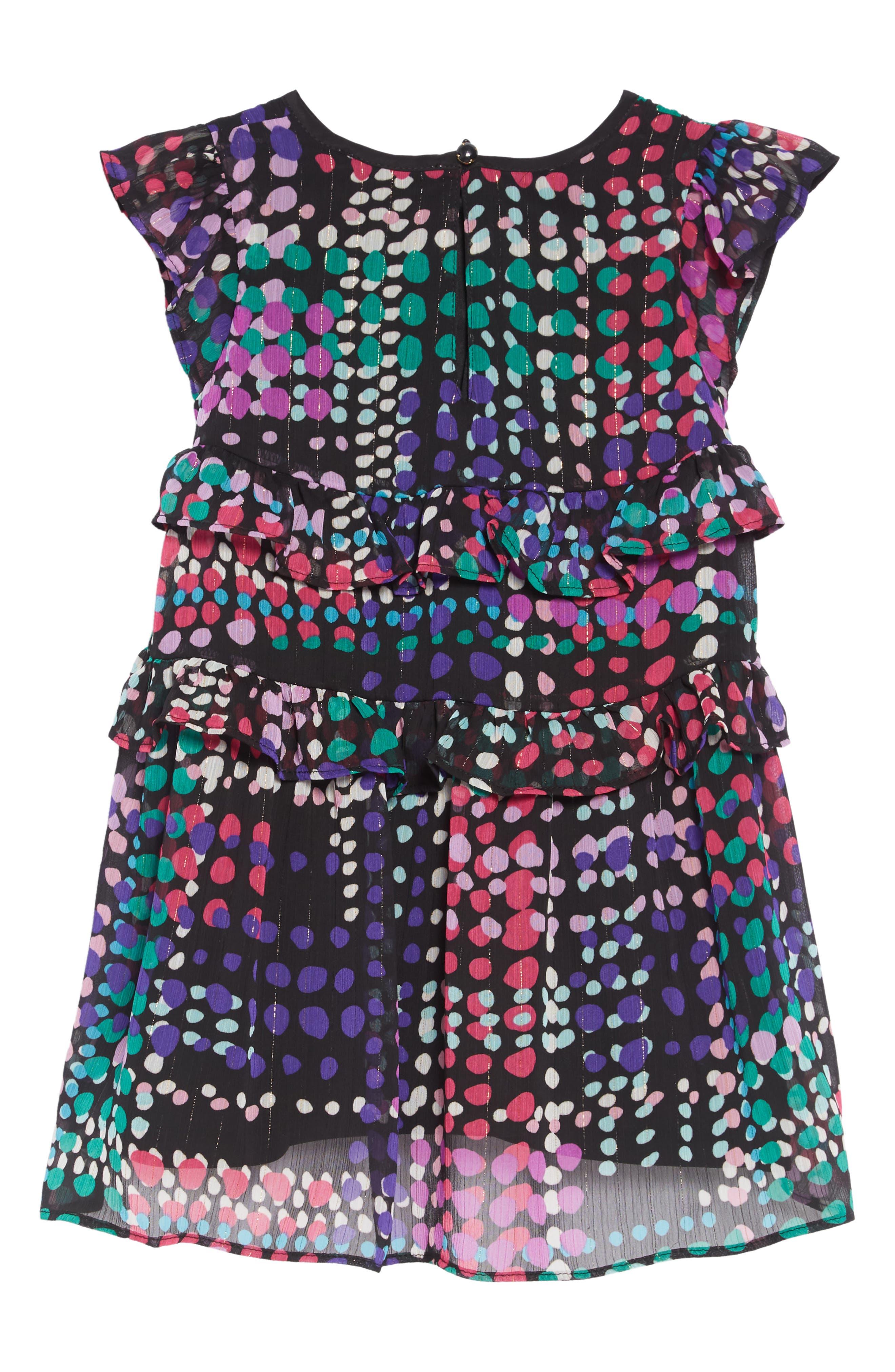 polka dot ruffle dress,                             Alternate thumbnail 2, color,                             DOTTY PLAID