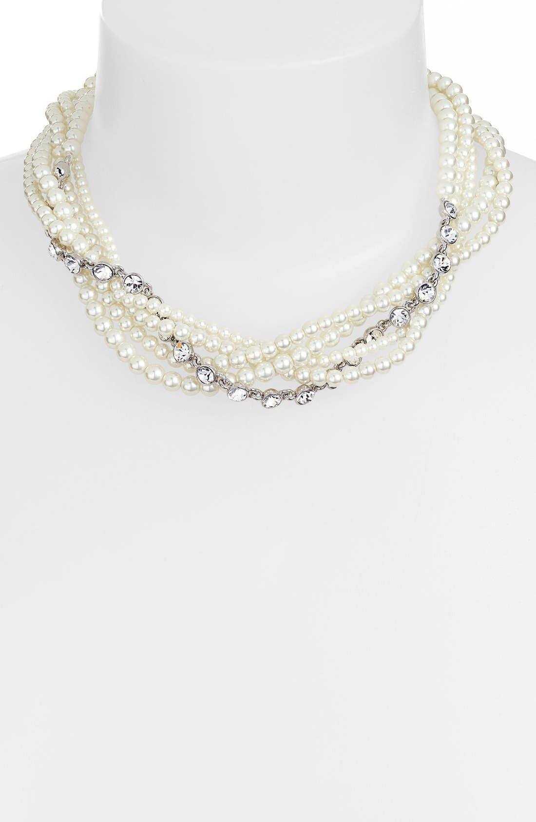 GIVENCHY,                             Faux Pearl & Crystal Torsade Necklace,                             Main thumbnail 1, color,                             100