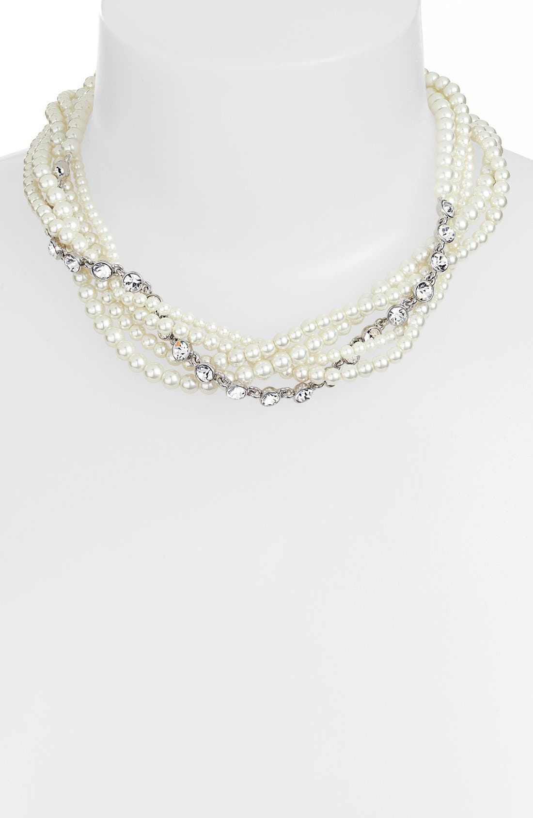 GIVENCHY Faux Pearl & Crystal Torsade Necklace, Main, color, 100
