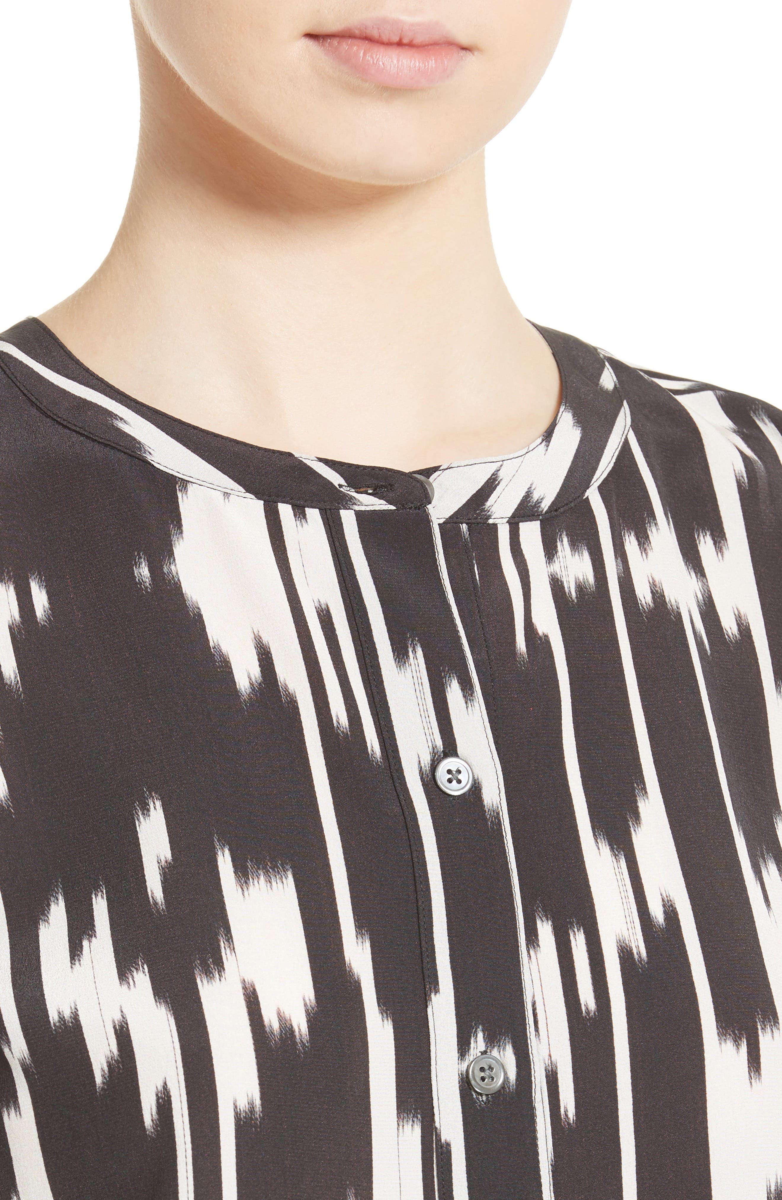 Isalva Interlace Ikat Silk Top,                             Alternate thumbnail 4, color,                             015