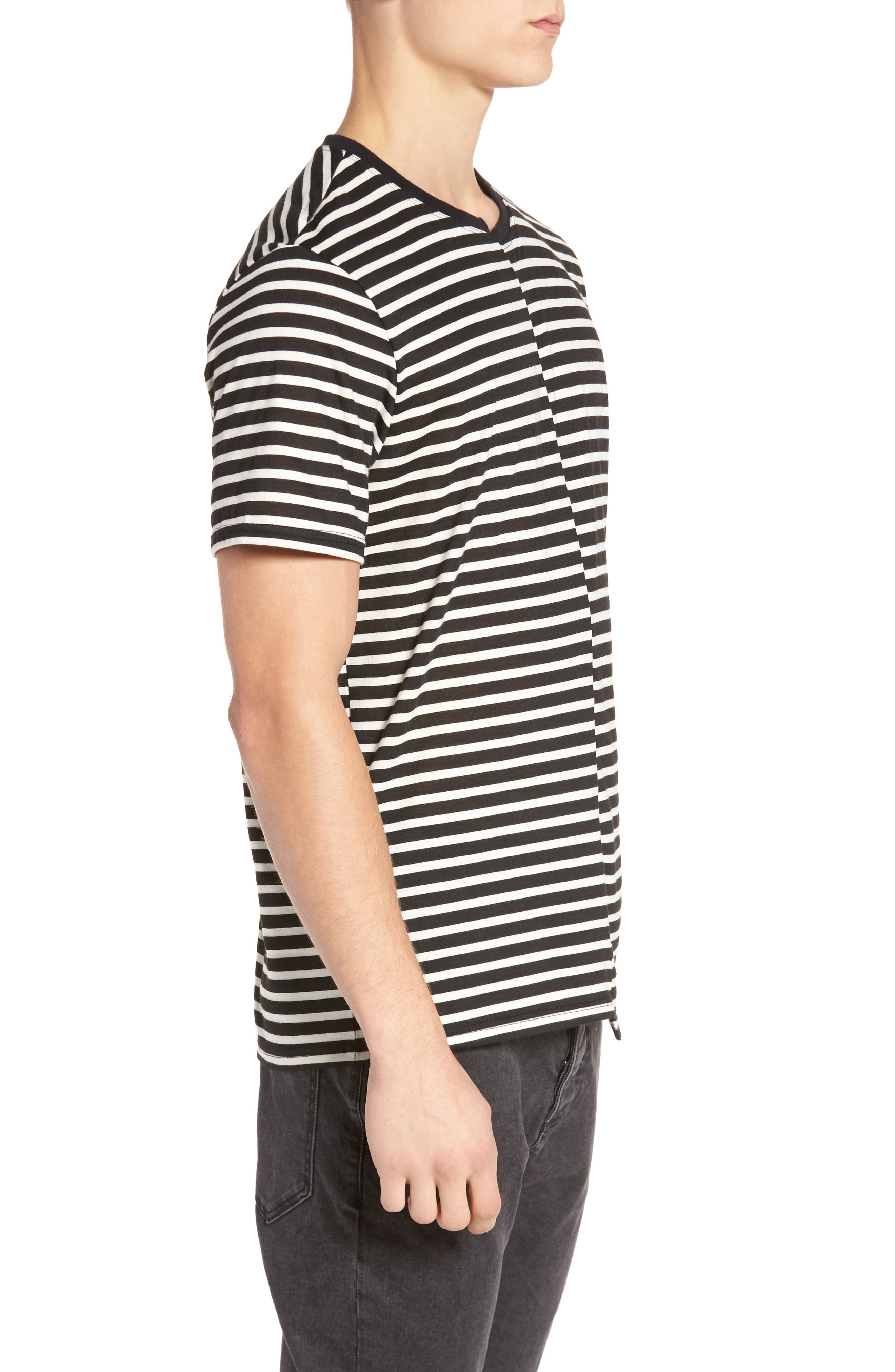 Spliced Stripe T-Shirt,                             Alternate thumbnail 3, color,                             001